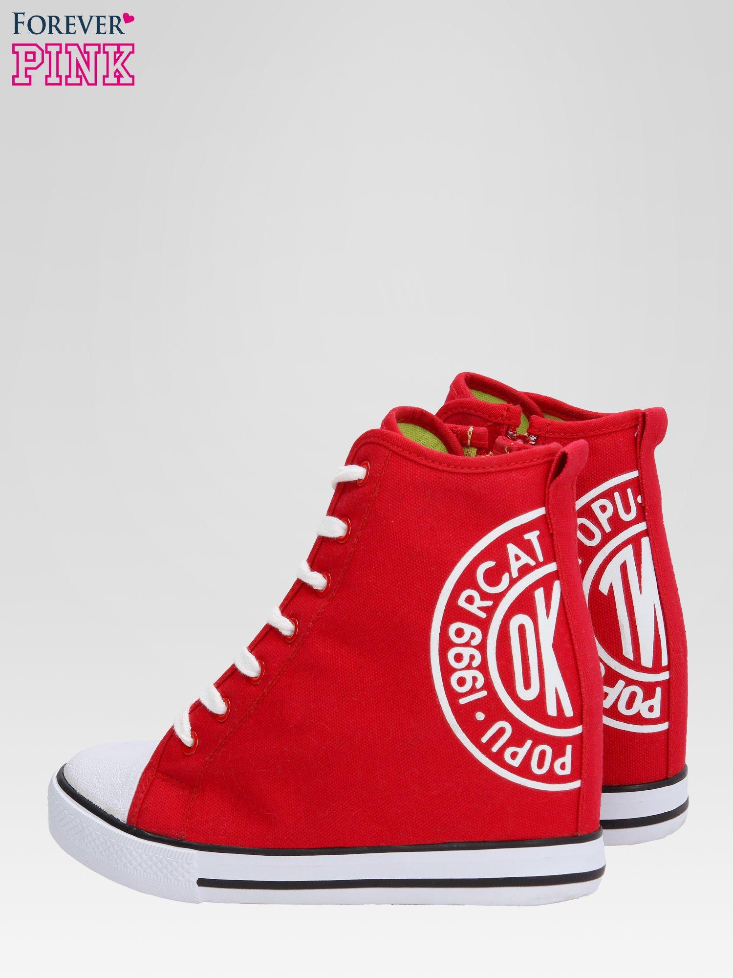 Czerwone trampki na koturnie sneakersy z logo                                  zdj.                                  5
