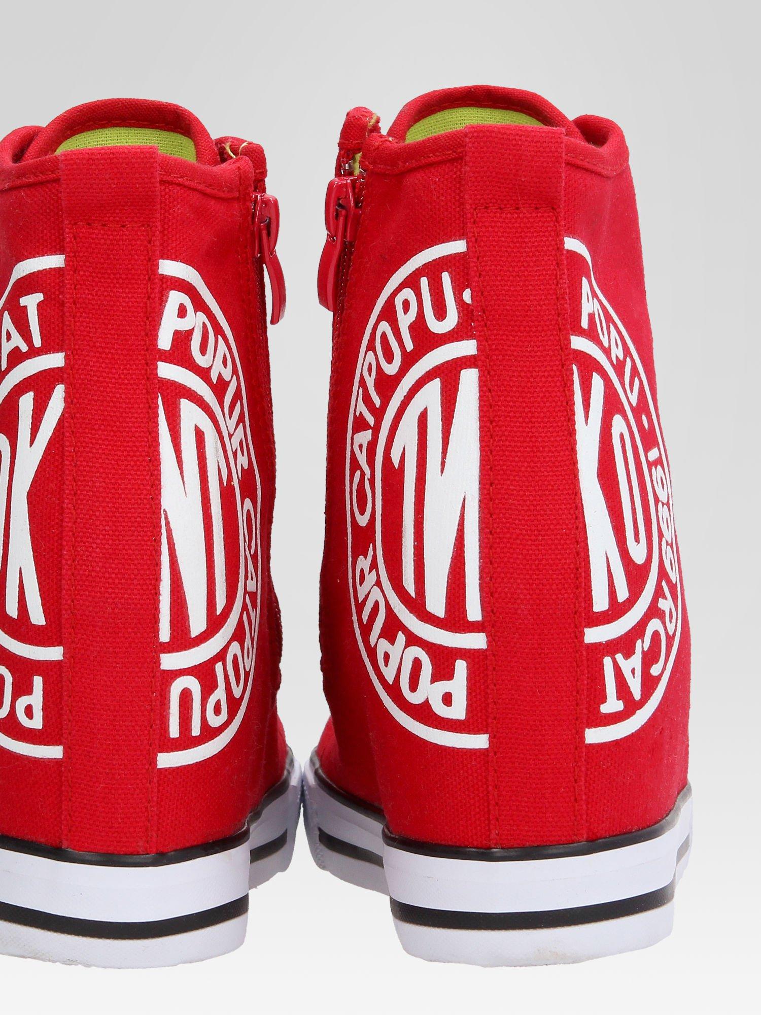 Czerwone trampki na koturnie sneakersy z logo                                  zdj.                                  8