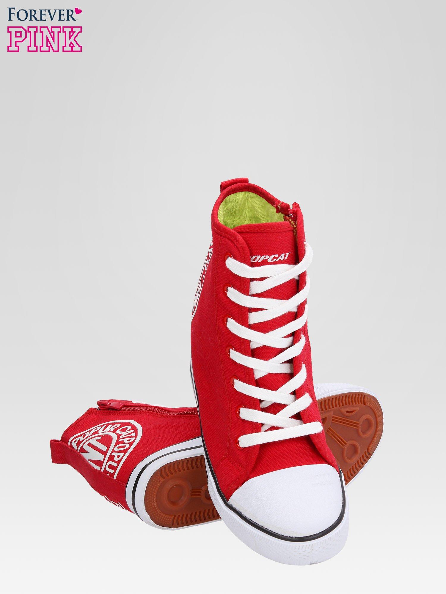 Czerwone trampki na koturnie sneakersy z logo                                  zdj.                                  4