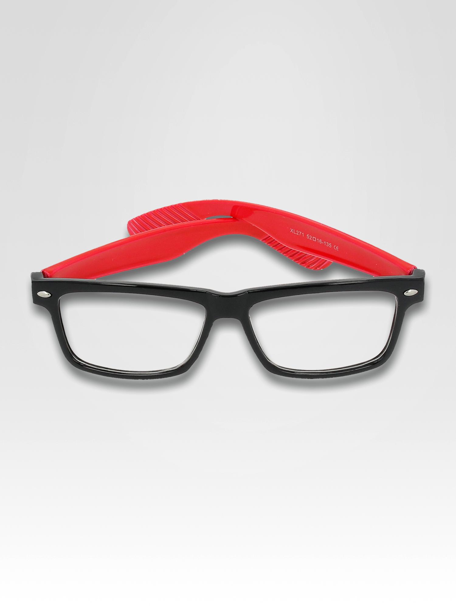 8924c98b4fdf9f 2; Czerwono-czarne okulary zerówki kujonki typu WAYFARER NERDY ...
