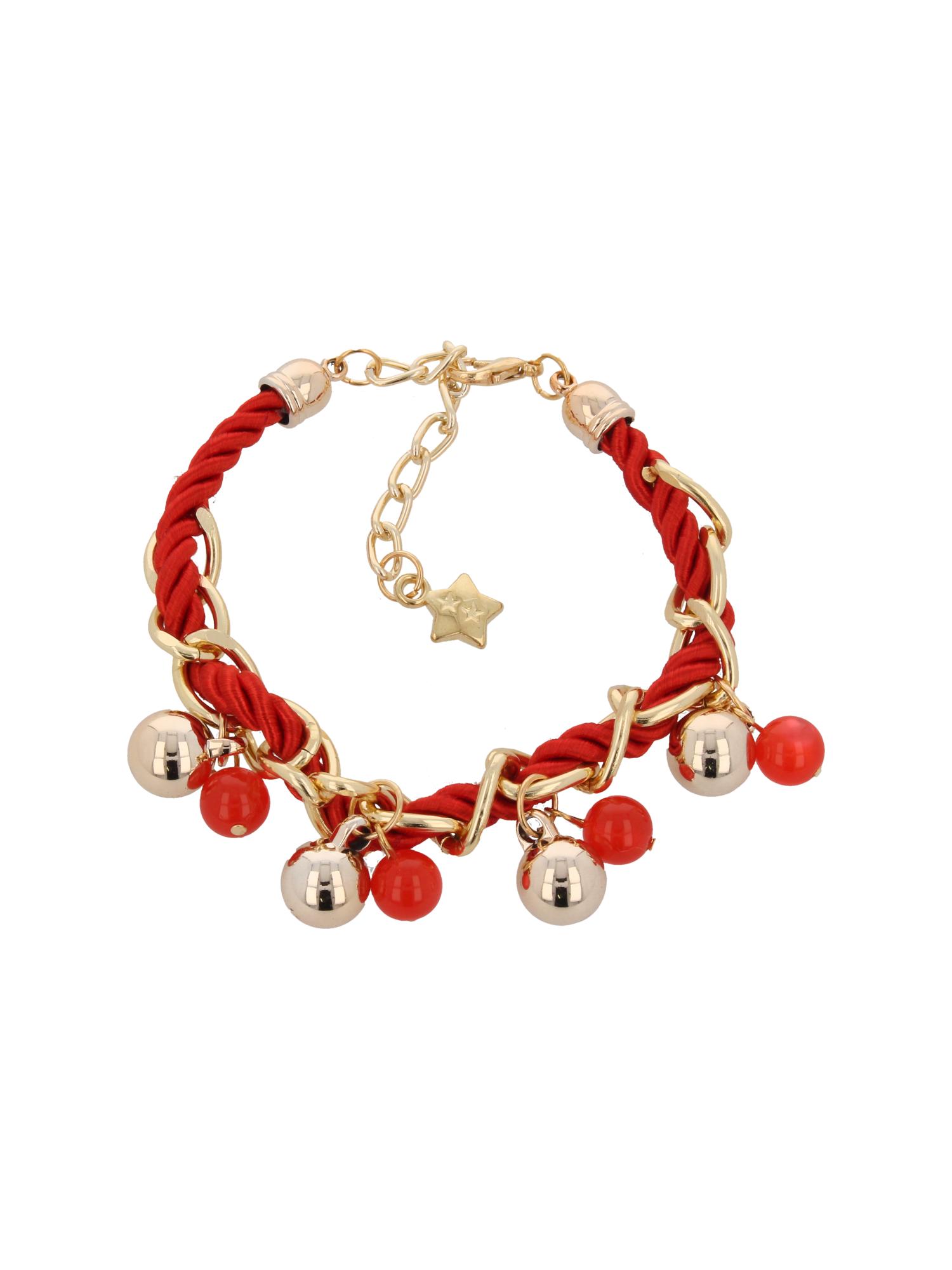 Czerwono - złota bransoletka z zawieszkami                                  zdj.                                  2
