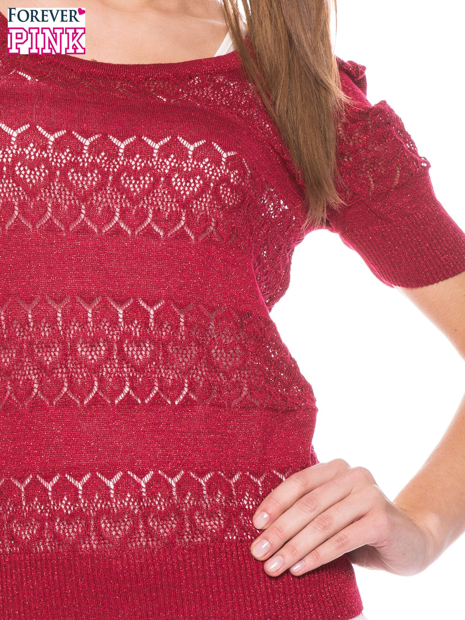 Czerwony ażurowy sweterek w stylu retro                                  zdj.                                  5