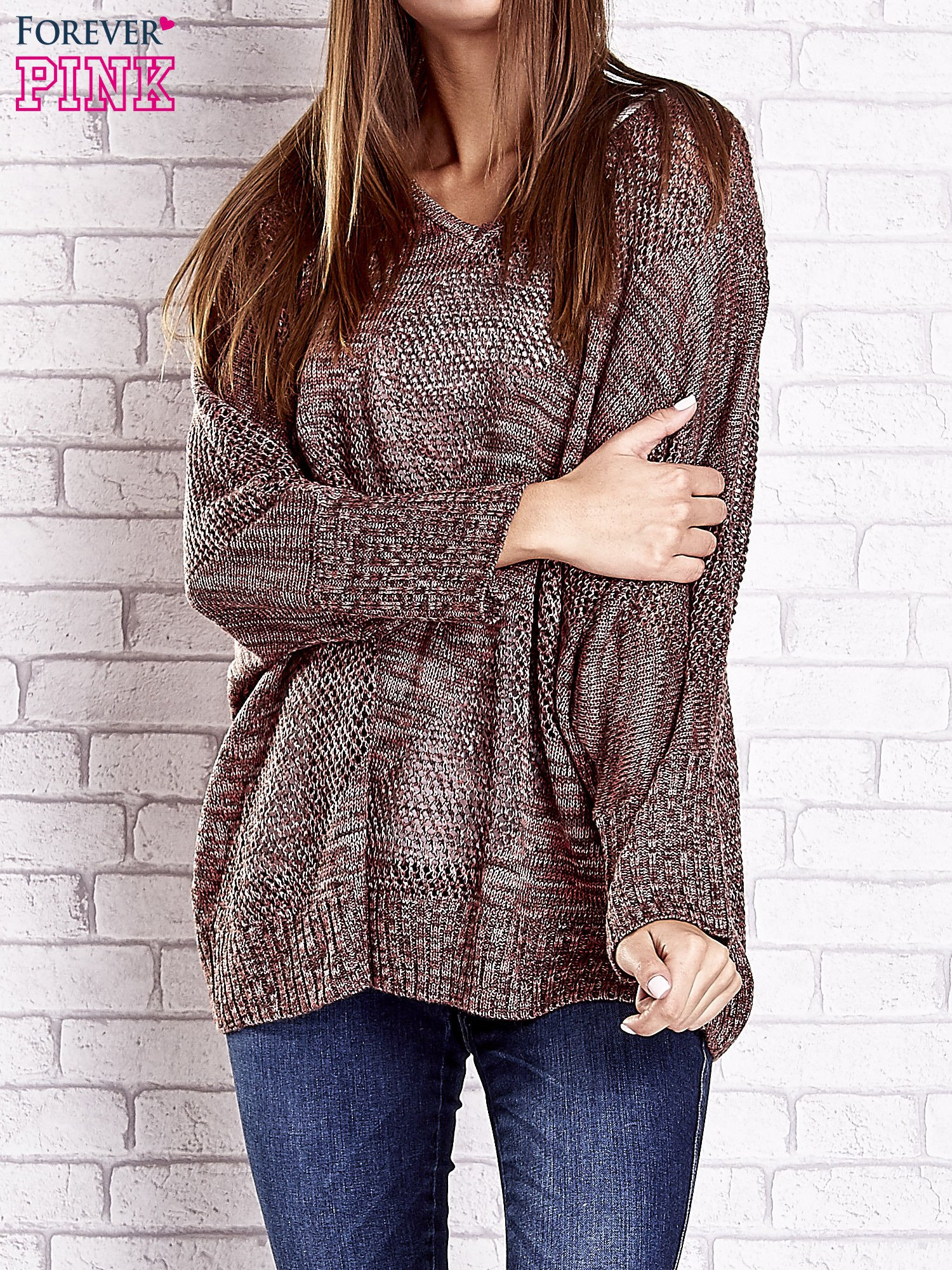Czerwony melanżowy sweter oversize o kroju nietoperz                                  zdj.                                  1