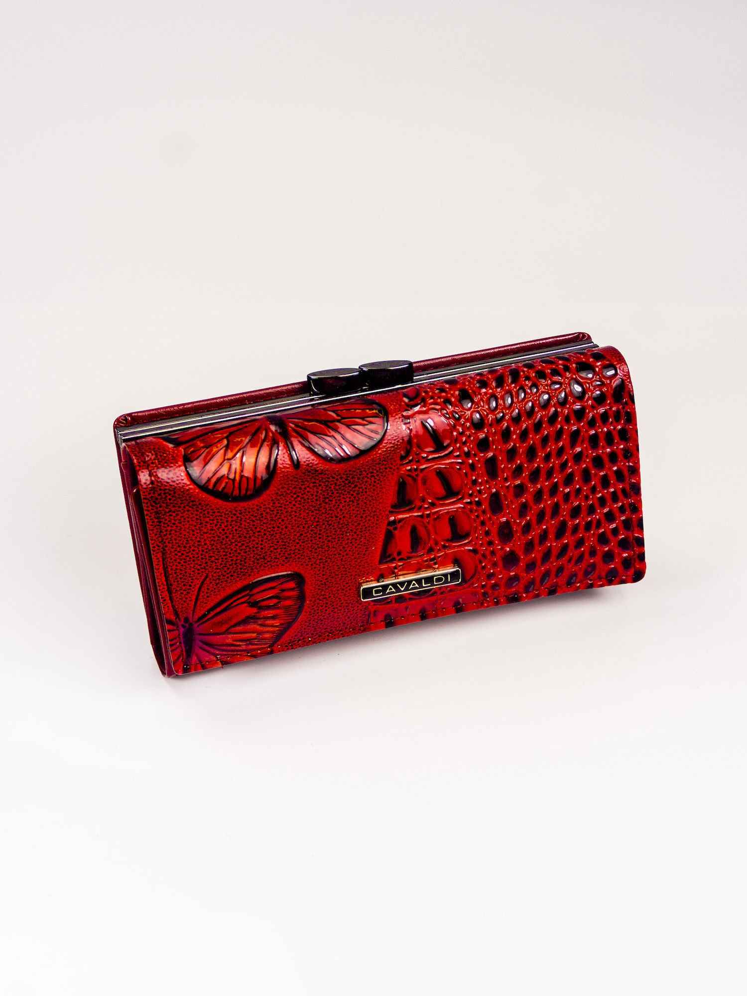 0ba129c5384ae Czerwony portfel skórzany z tłoczeniem - Akcesoria portfele - sklep ...