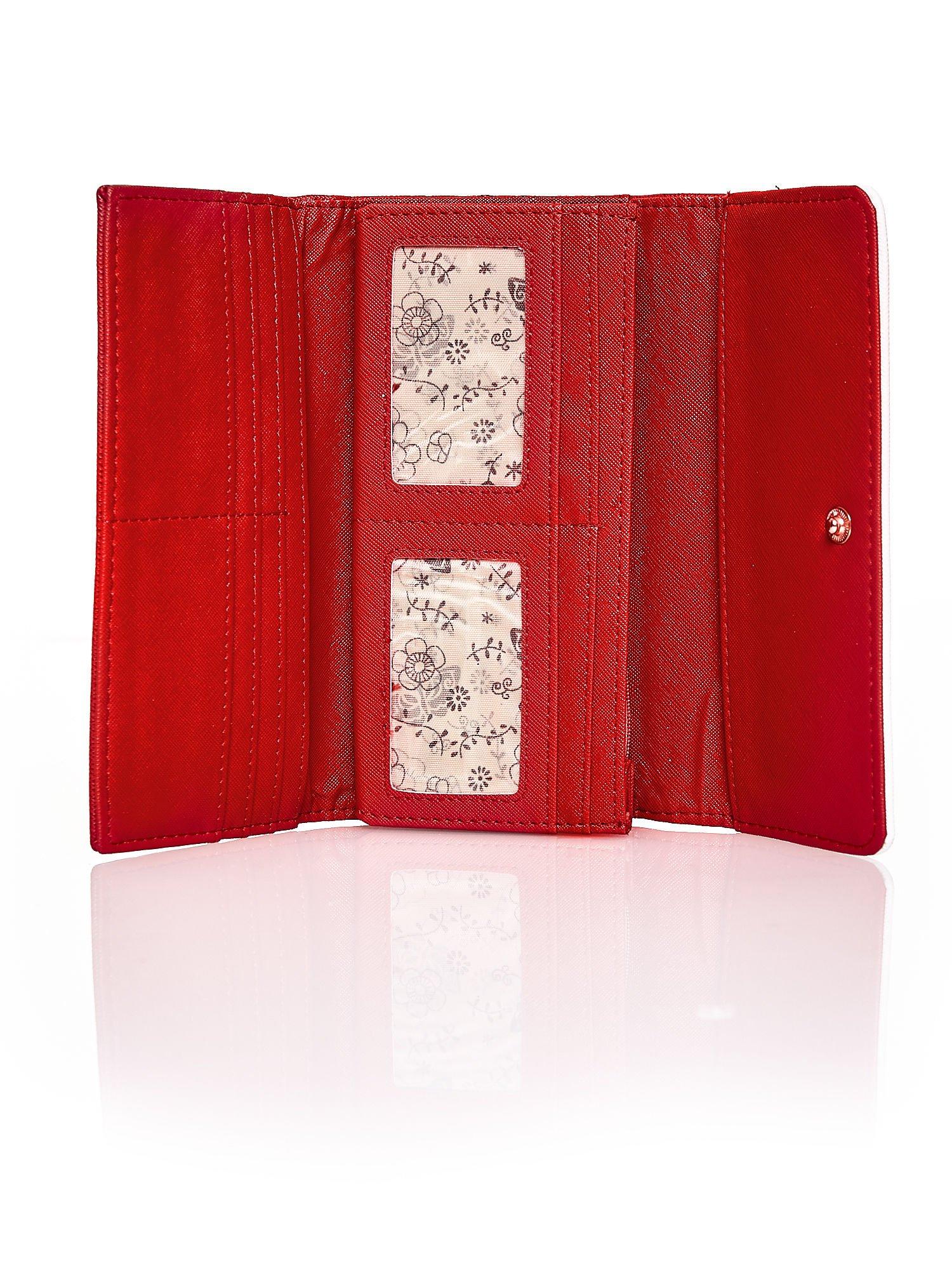 Czerwony portfel z białym wykończeniem                                  zdj.                                  4