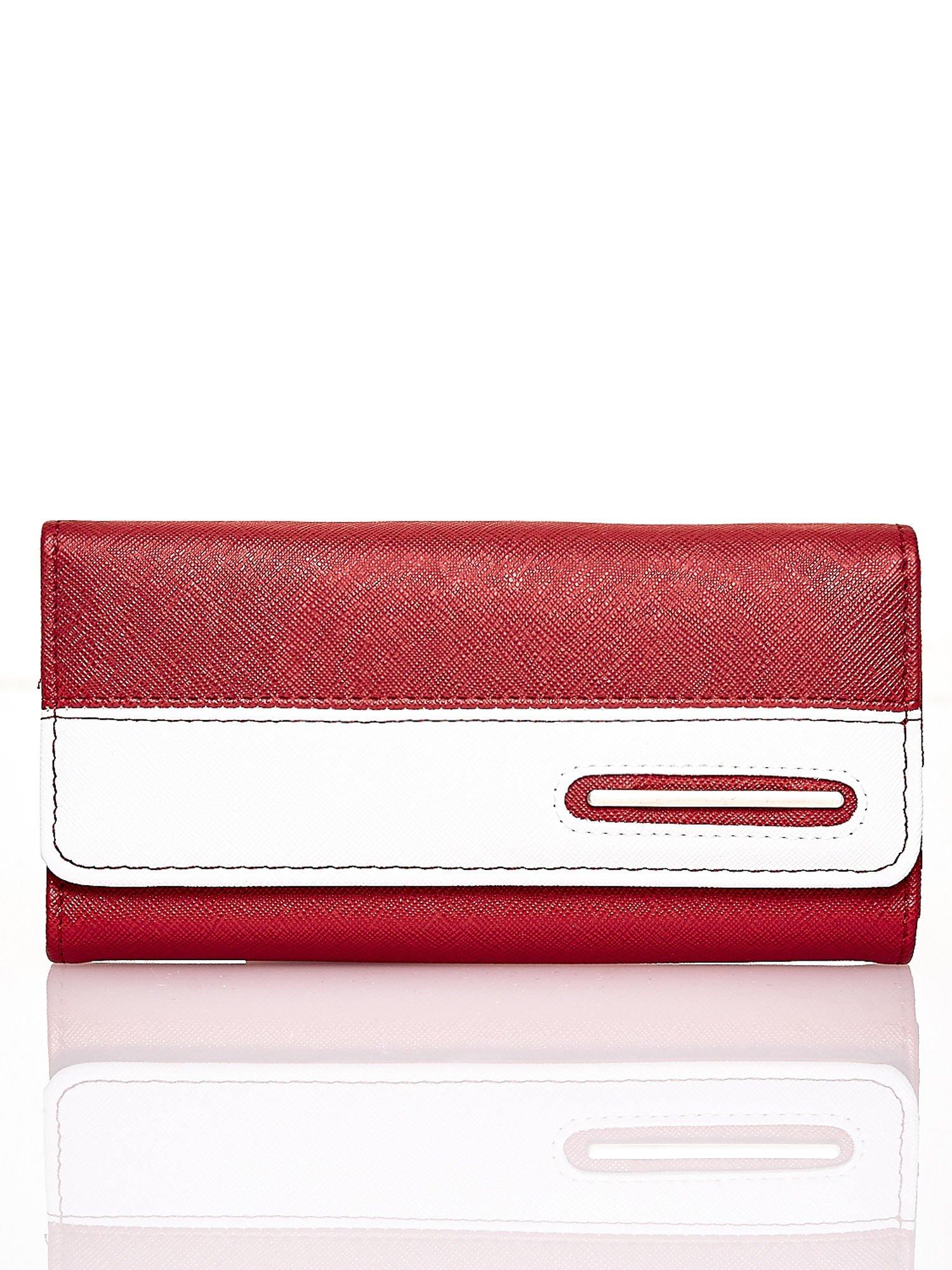 Czerwony portfel z białym wykończeniem                                  zdj.                                  1