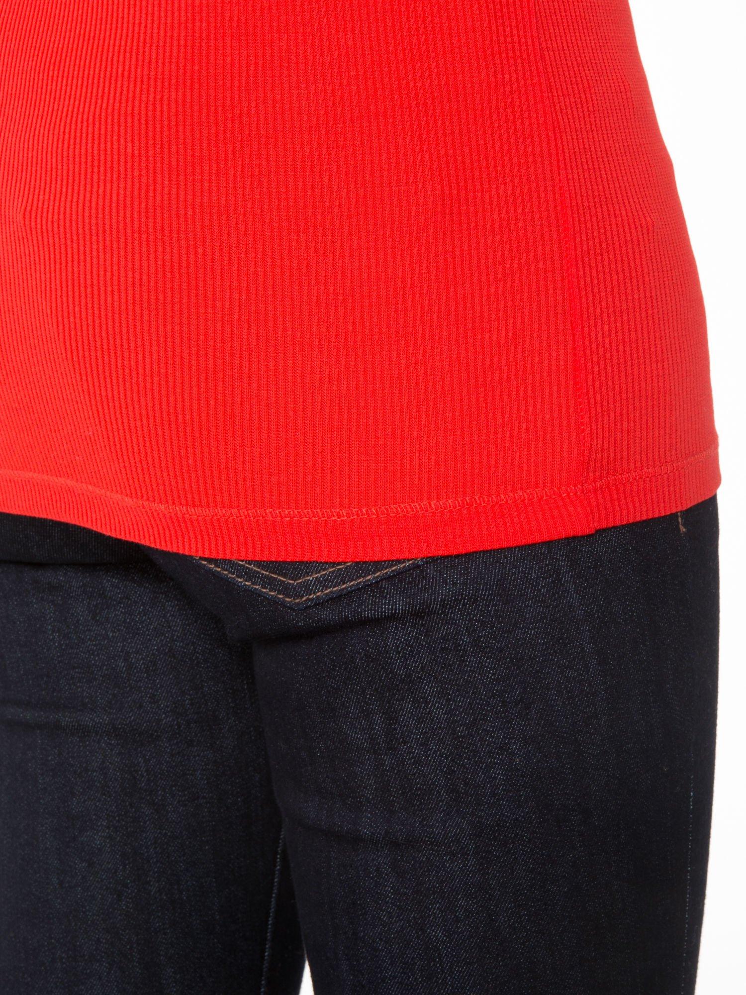 Czerwony prążkowany golf damski                                  zdj.                                  8