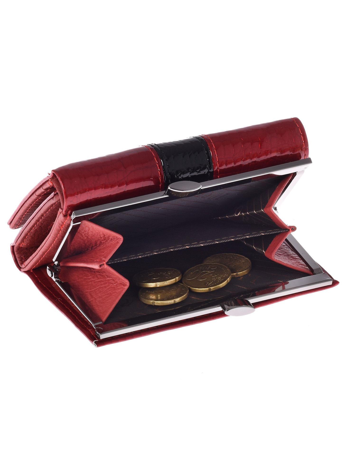 39d1ee18894f3 3 · Czerwony skórzany portfel damski ze wzorem skóry krokodyla ...