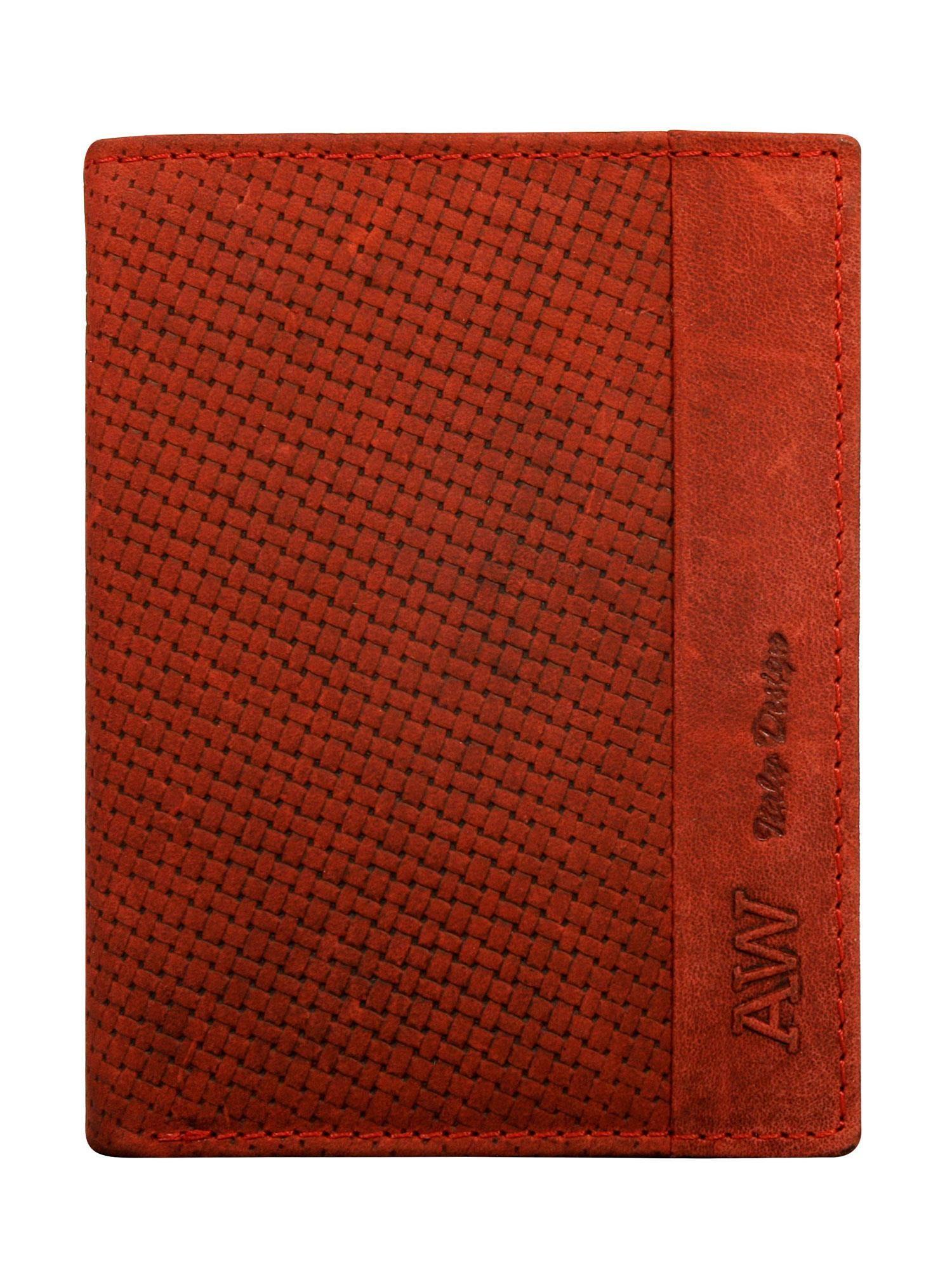 4da226fa5d9d9 Czerwony skórzany portfel męski z motywem plecionki - Mężczyźni portfel  męski - sklep eButik.pl