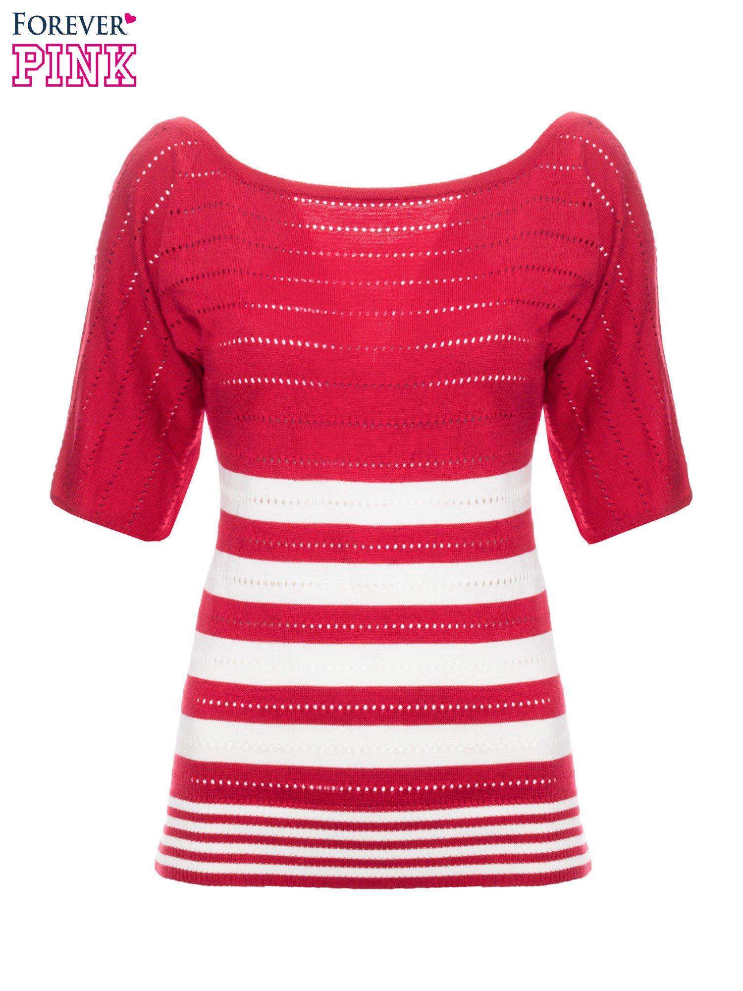 Czerwony sweter w paski z szerokim dekoltem                                  zdj.                                  2