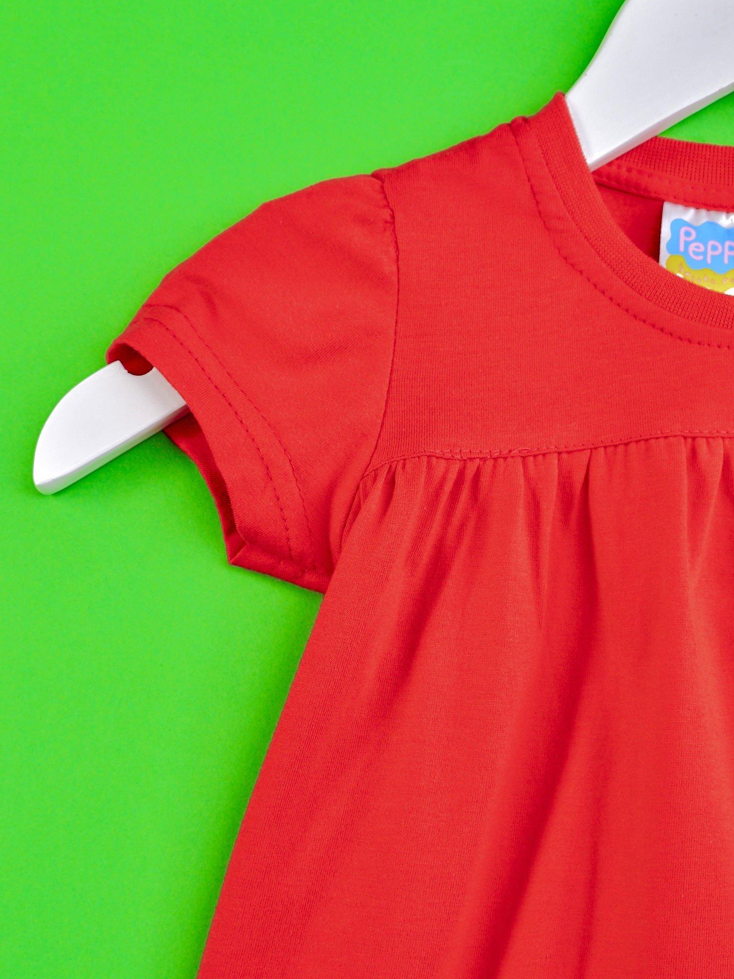 Czerwony t-shirt dla dziewczynki ŚWINKA PEPPA                                  zdj.                                  3