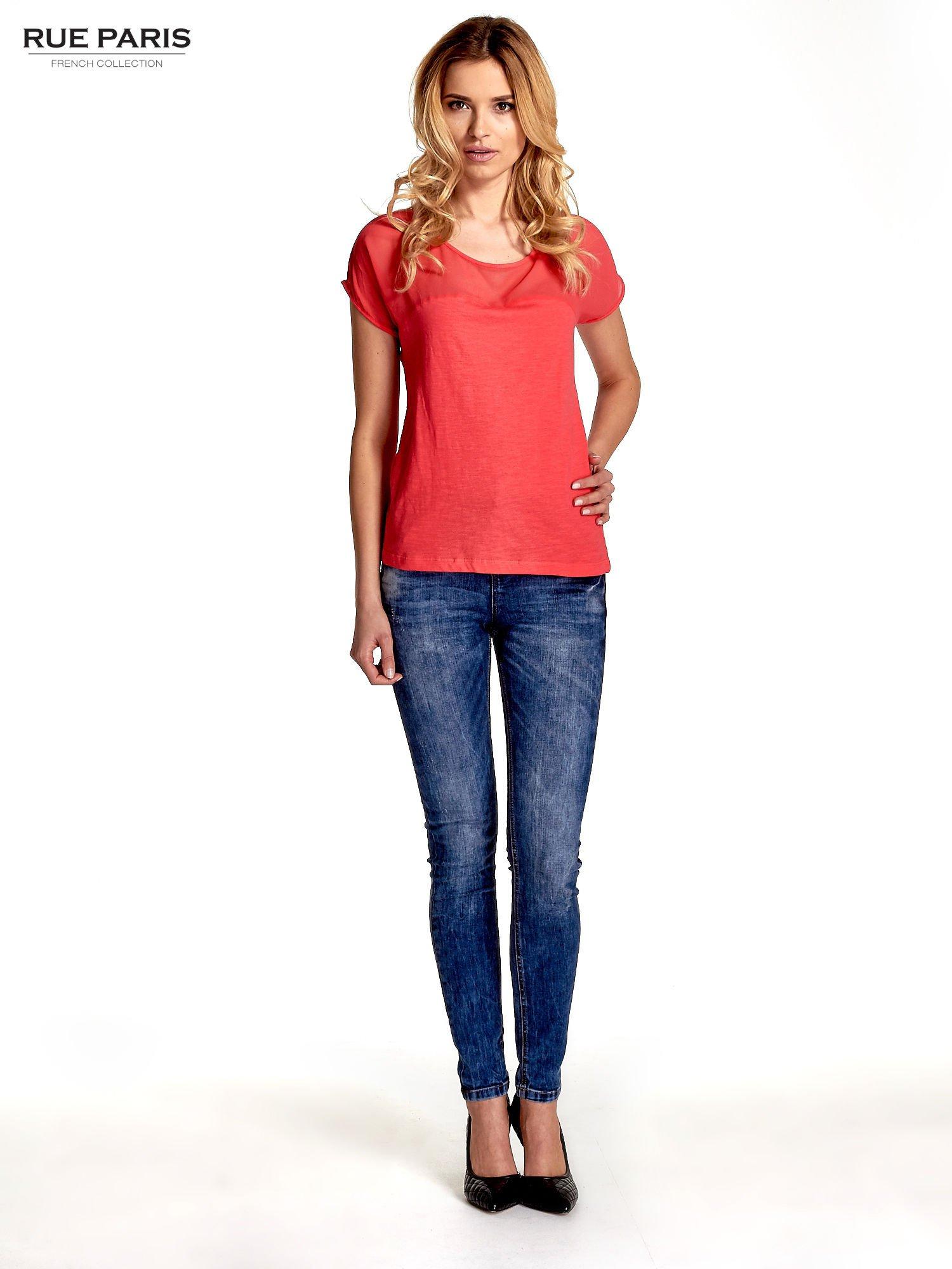 Czerwony t-shirt z górą mgiełką                                  zdj.                                  7