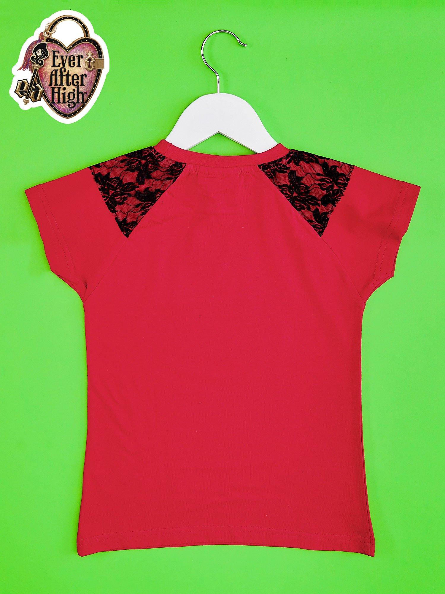 Czerwony t-shirt z koronką dla dziewczynki EVER AFTER HIGH                                  zdj.                                  2