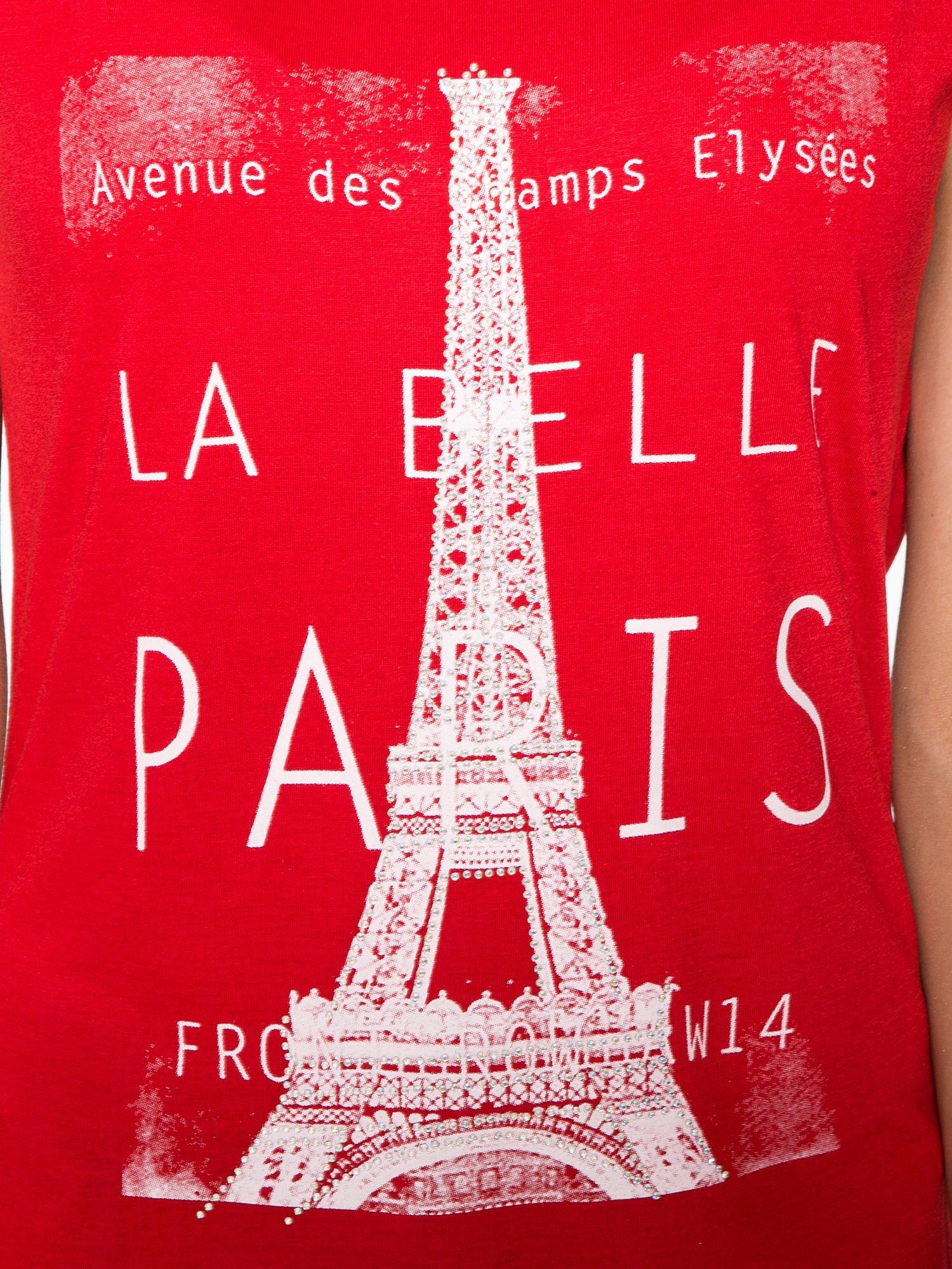 Czerwony t-shirt z motywem Paryża                                  zdj.                                  8
