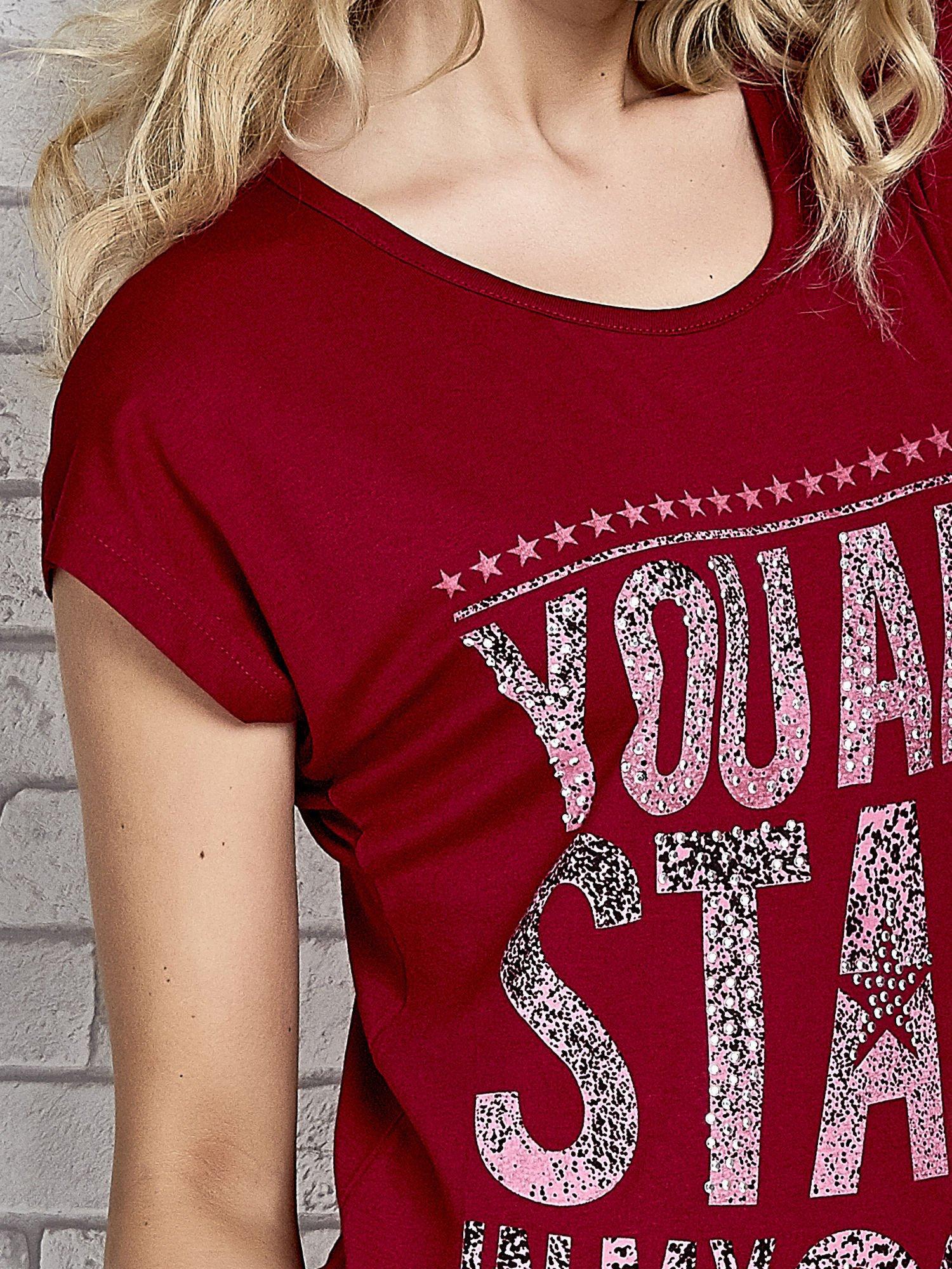 Czerwony t-shirt z napisem YOU ARE STAR IN MY HEART z dżetami                                  zdj.                                  5