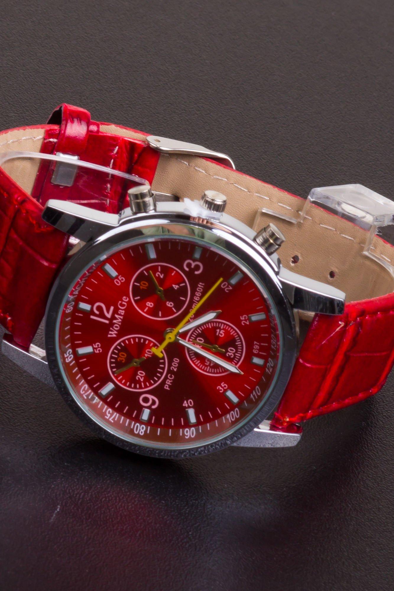 Czerwony zegarek damski z ozdobnym tachometrem                                  zdj.                                  2