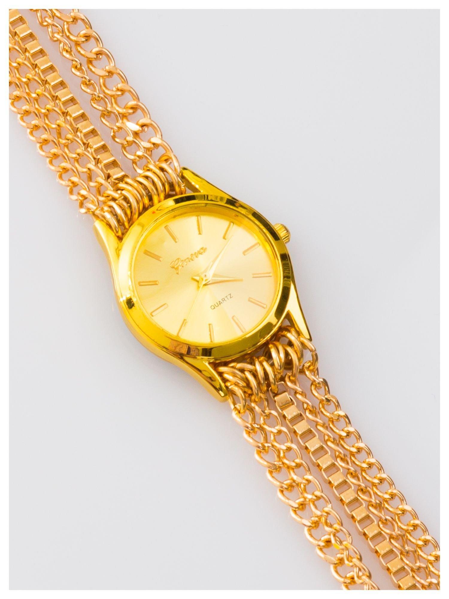 Damski zegarek. Pasek z łańcuszków - zawijany na nadgarstku. Stylowy.                                  zdj.                                  1