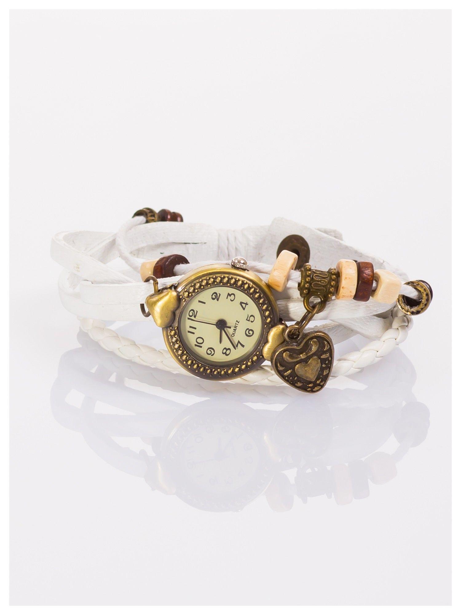 Damski zegarek na skórzanej bransolecie z charmsami                                  zdj.                                  1