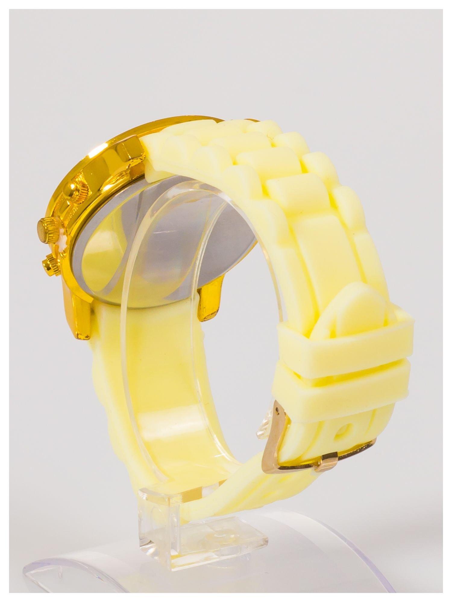 Damski zegarek z cyrkoniami i ozdobnym chronografem na wygodnym silikonowym pasku                                  zdj.                                  4