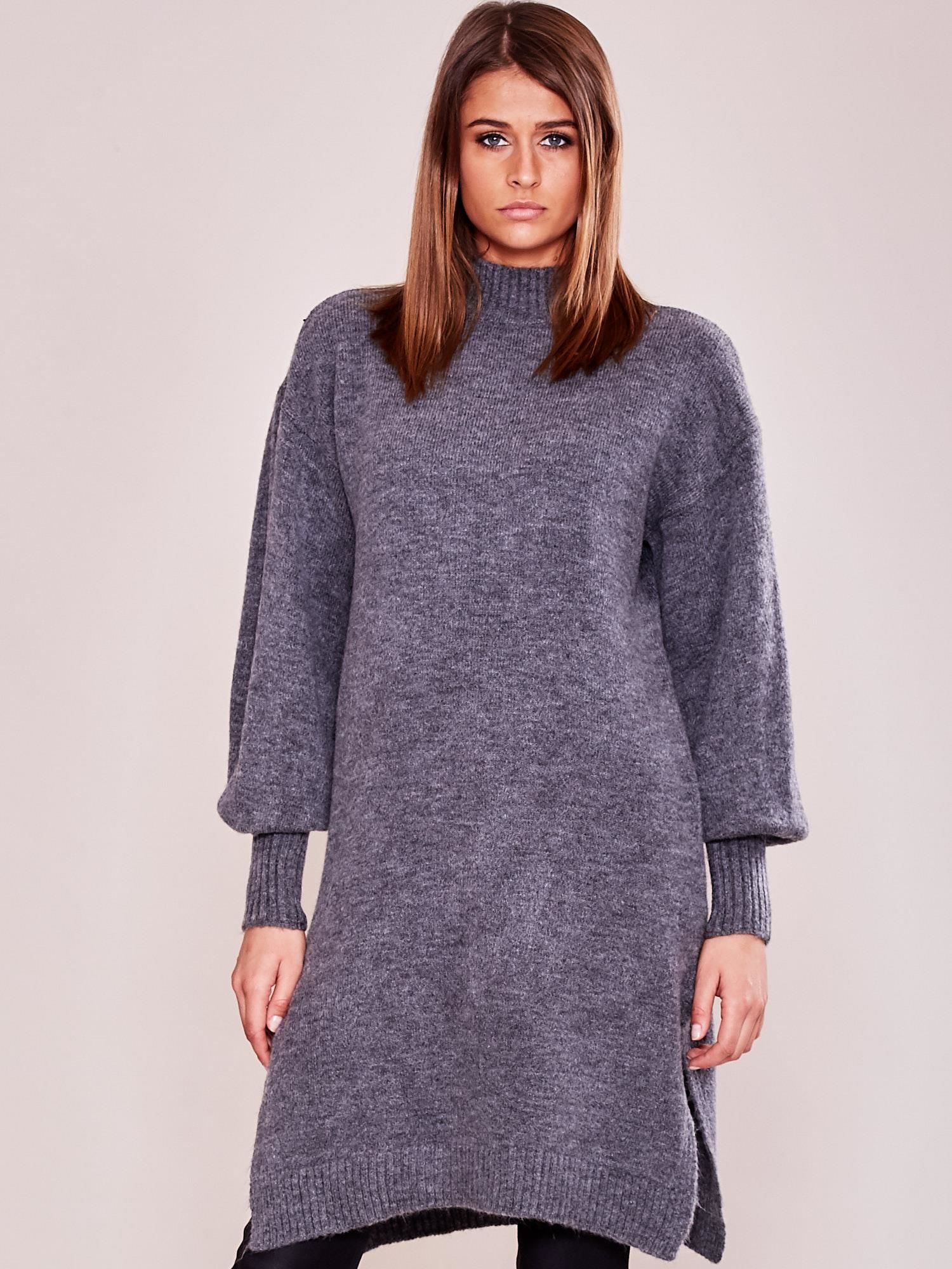 4fc05c5f Długi sweter damski z szerokimi ściągaczami szary