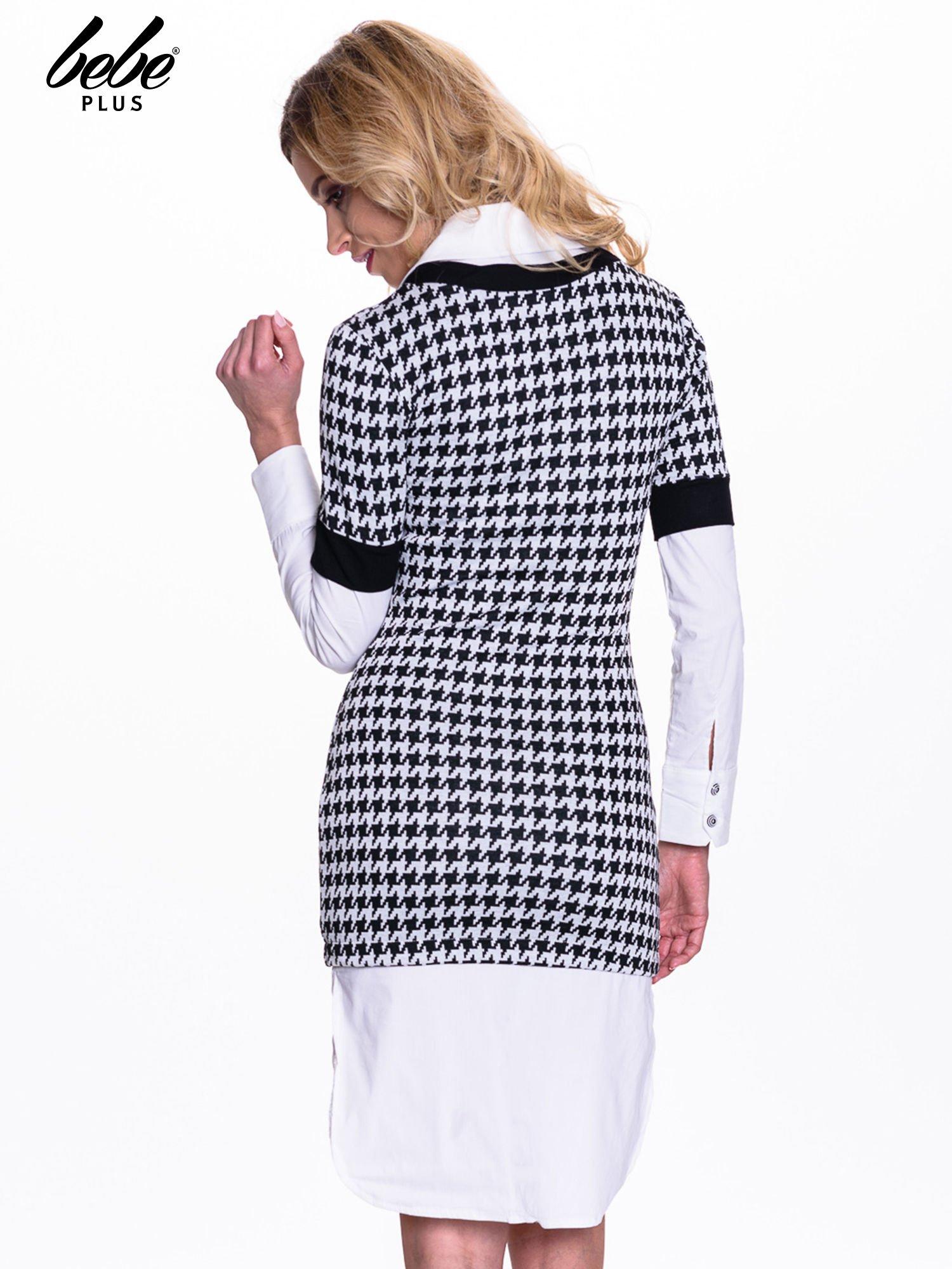 Dwuczęściowa sukienka w pepitkę z białą koszulą                                  zdj.                                  4