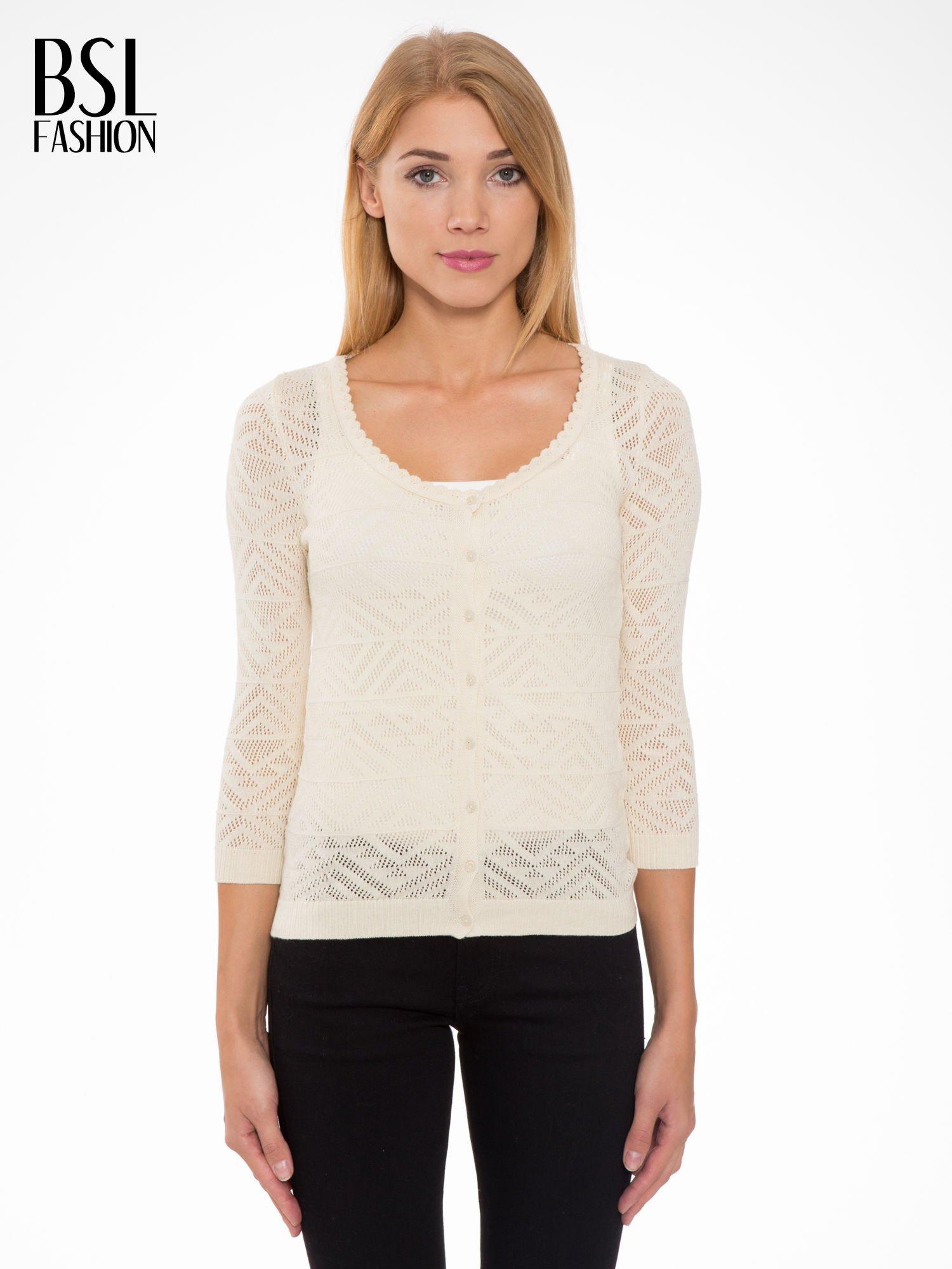 Ecru ażurowy sweter kardigan na guziki                                  zdj.                                  1
