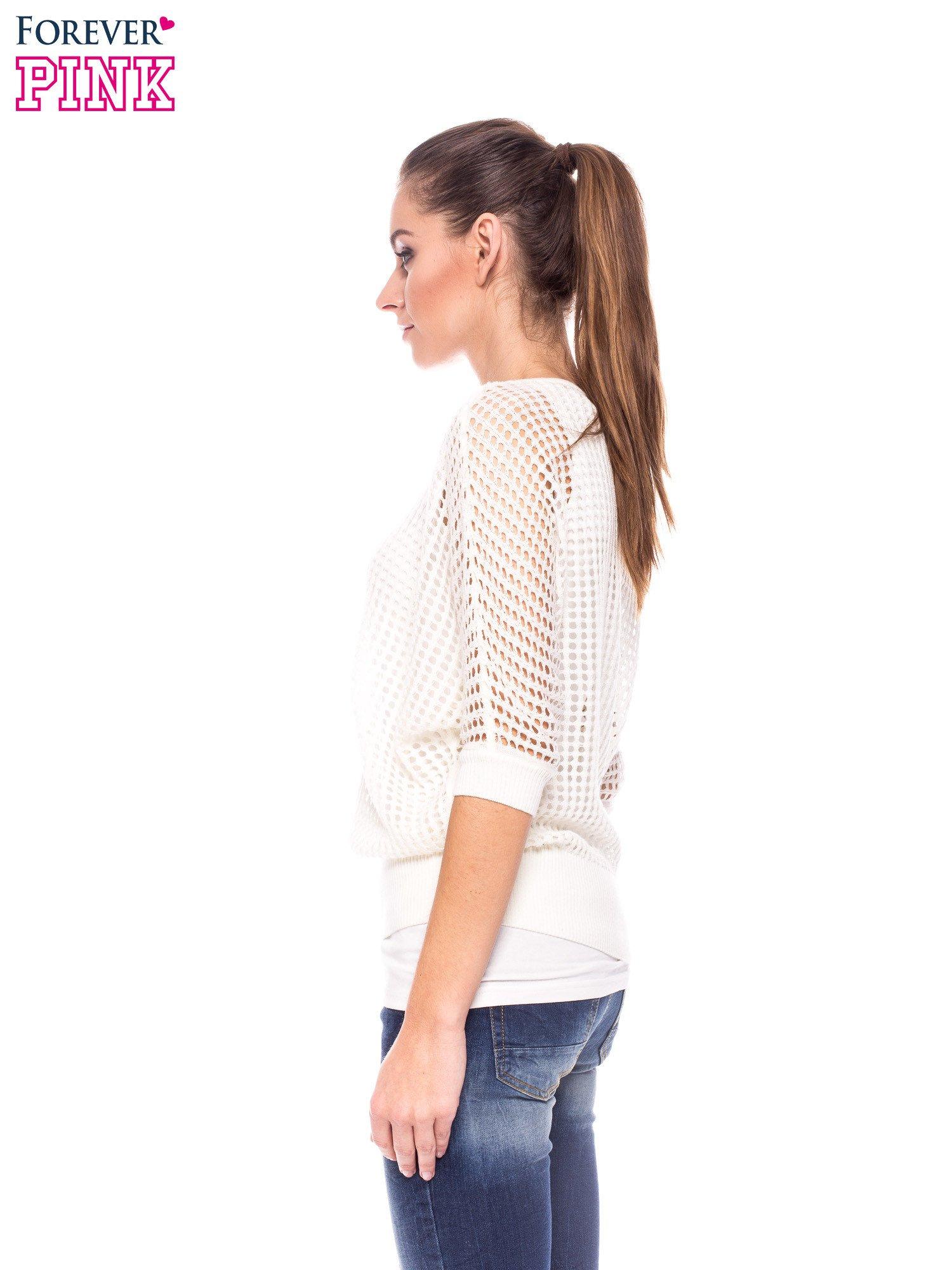 Ecru ażurowy sweter oversize                                  zdj.                                  3