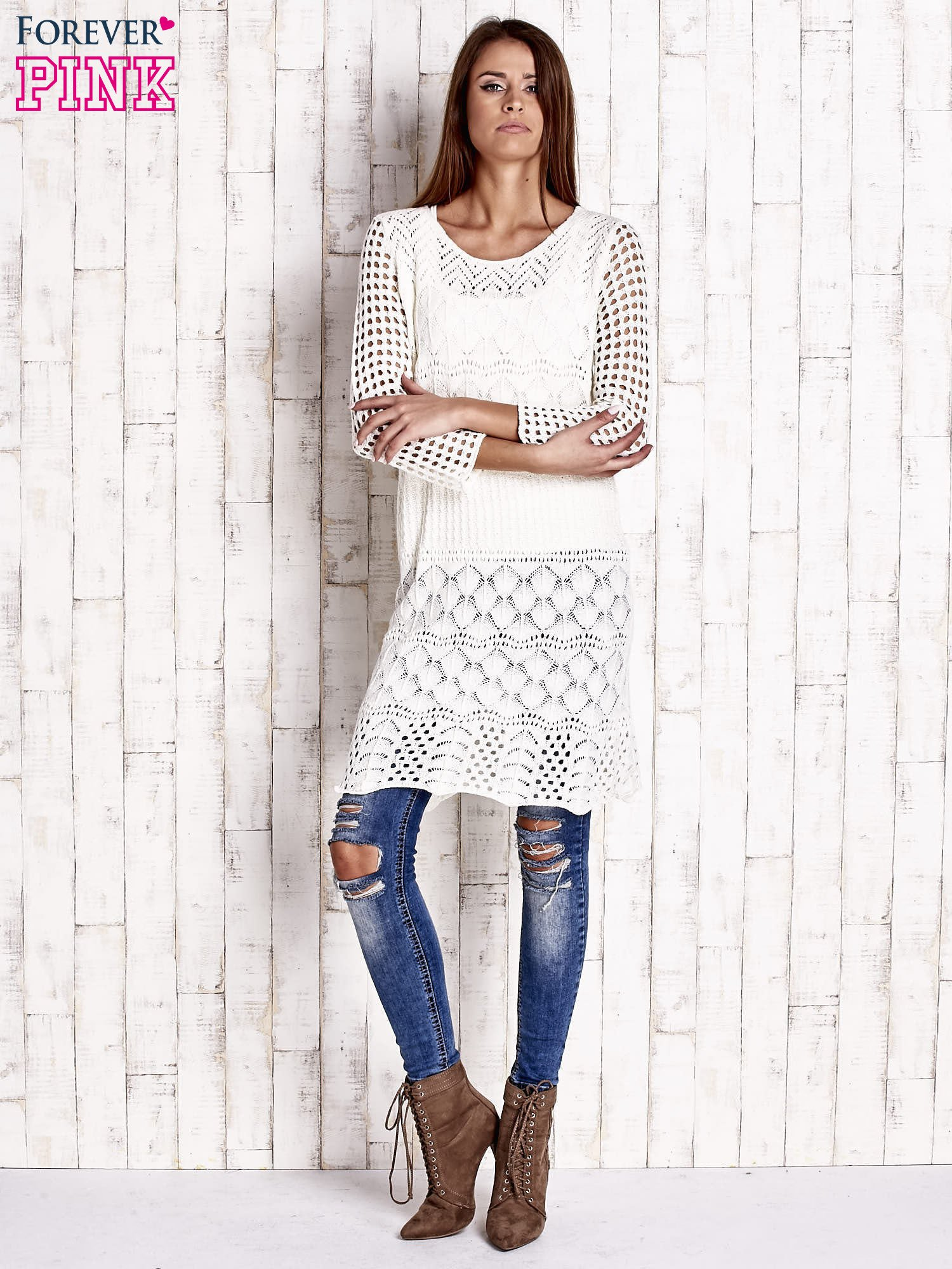 Ecru ażurowy sweter sukienka                                   zdj.                                  2