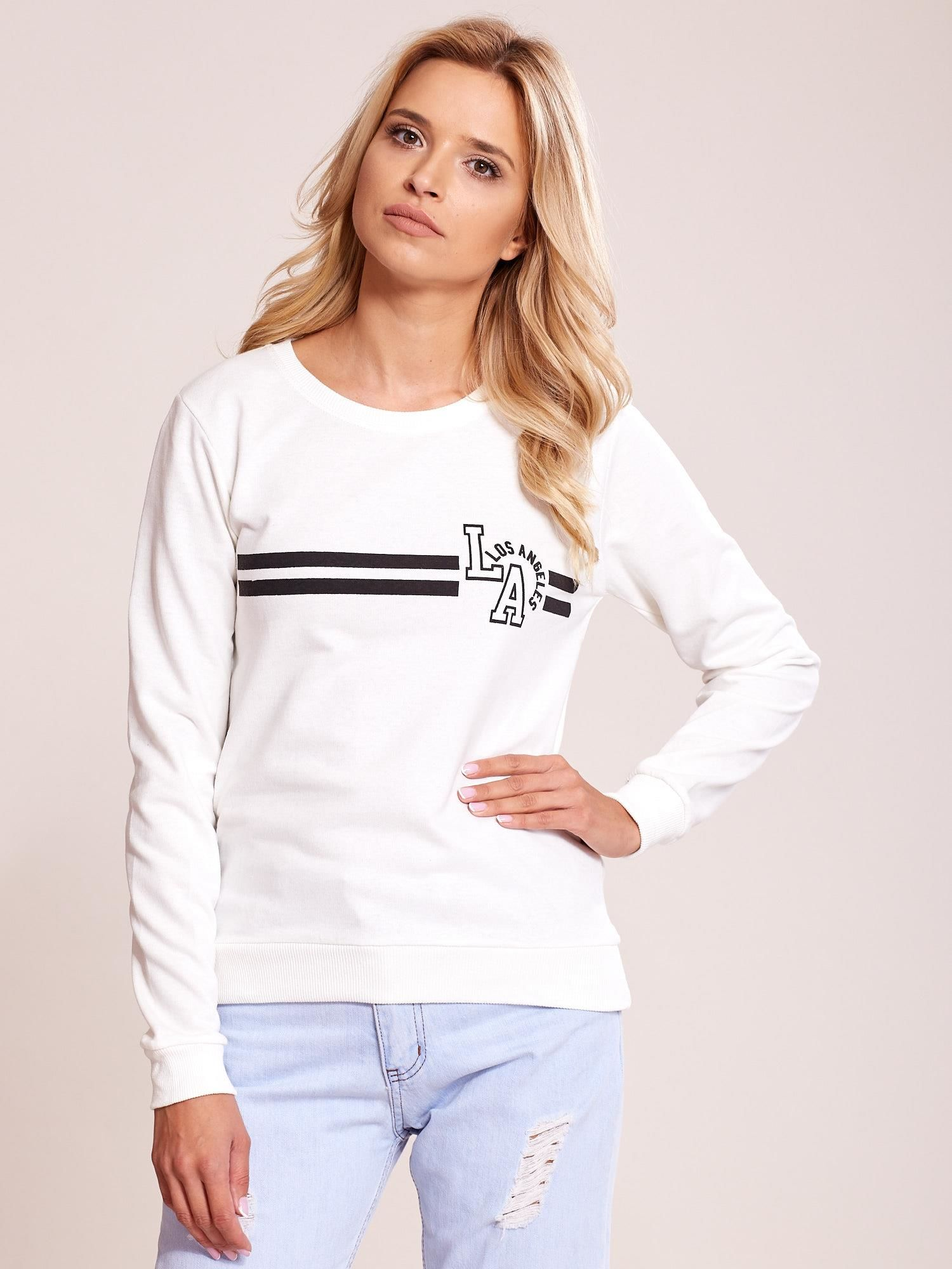 f949700d4e0455 Ecru bluza bawełniana z nadrukiem LOS ANGELES - Bluza bez kaptura ...