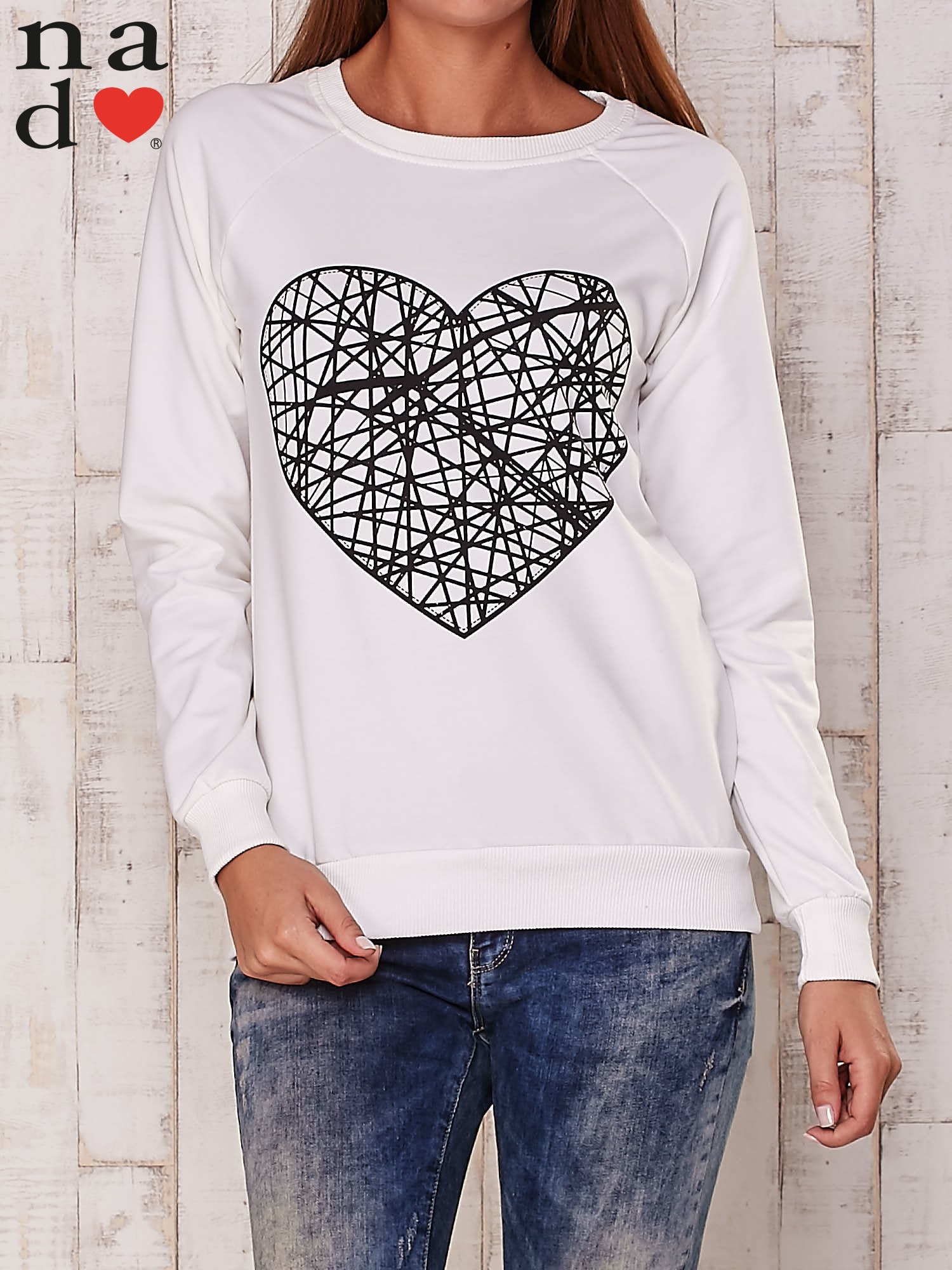 Ecru bluza z nadrukiem serca                                  zdj.                                  1