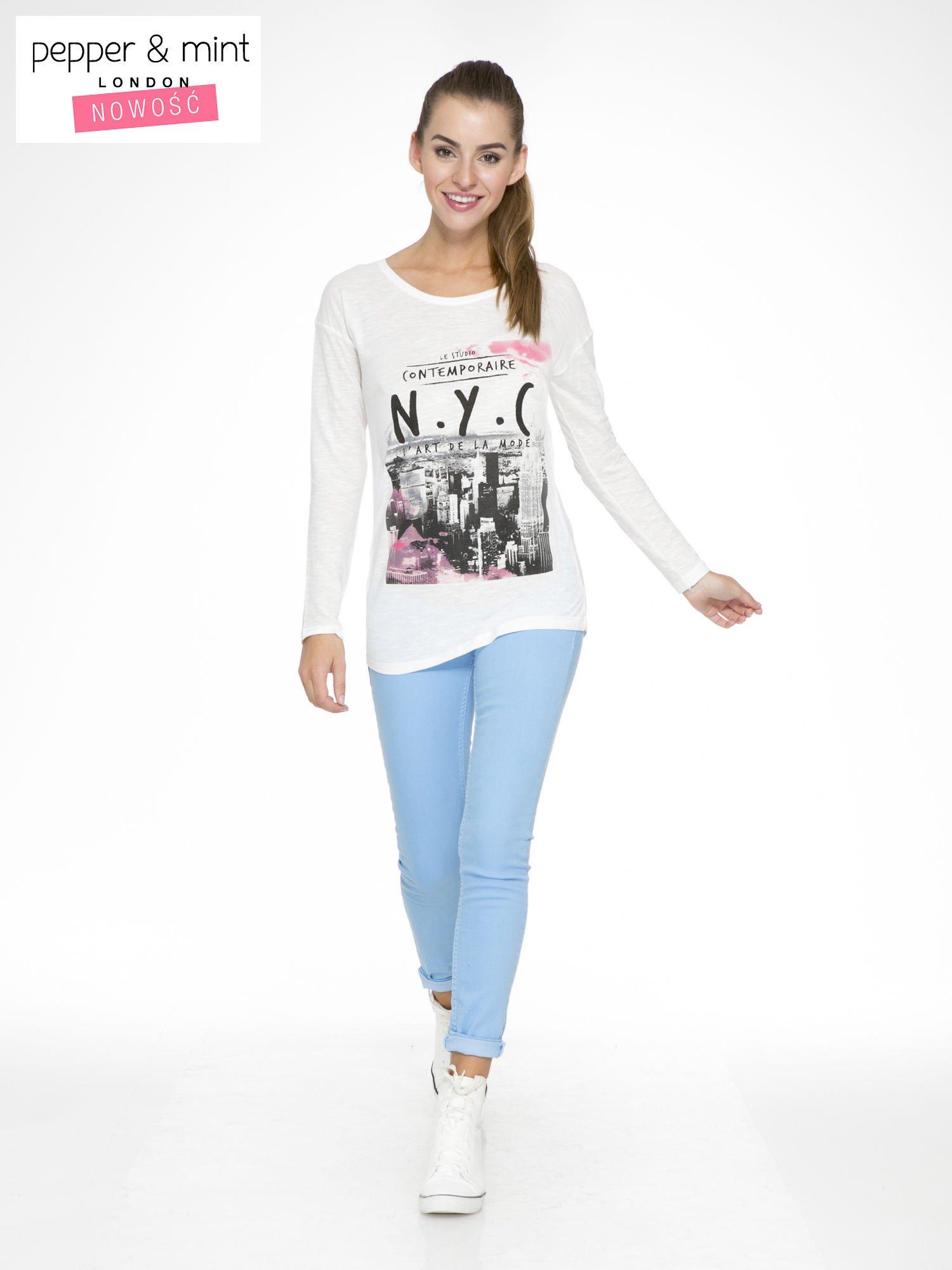 Ecru bluzka z nadrukiem NEW YORK CITY                                  zdj.                                  2
