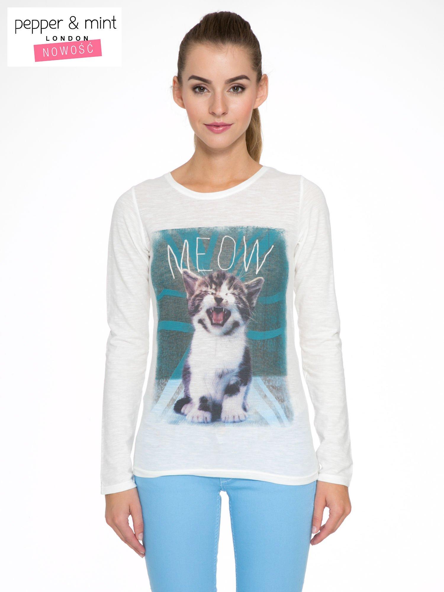 Ecru bluzka z nadrukiem kotka i napisem MEOW                                  zdj.                                  1