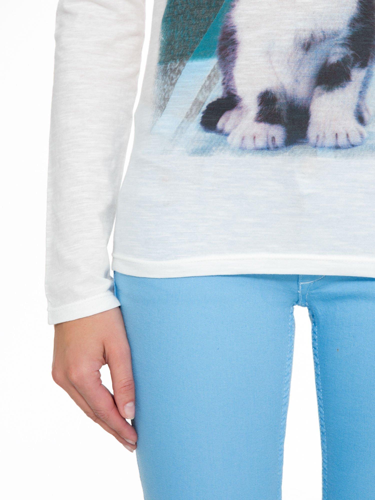Ecru bluzka z nadrukiem kotka i napisem MEOW                                  zdj.                                  9