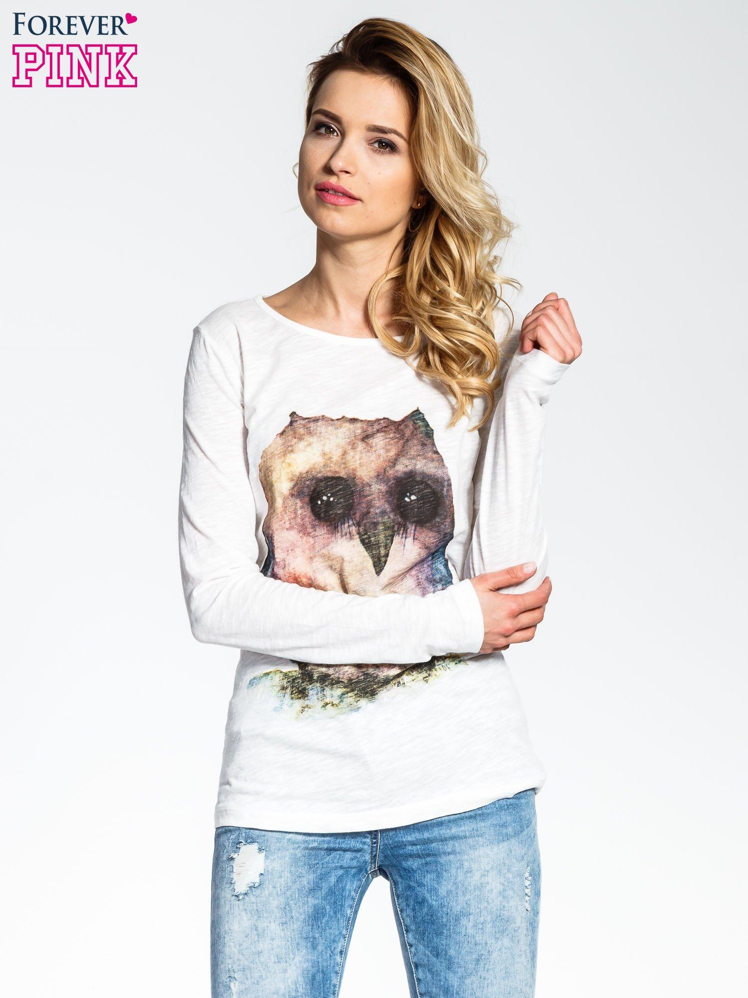 Ecru bluzka z nadrukiem sówki                                  zdj.                                  1