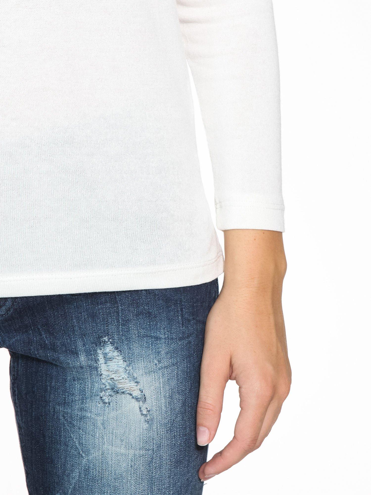 Ecru bluzka z tyłem mgiełką i z ozdobnym wiązaniem                                  zdj.                                  7
