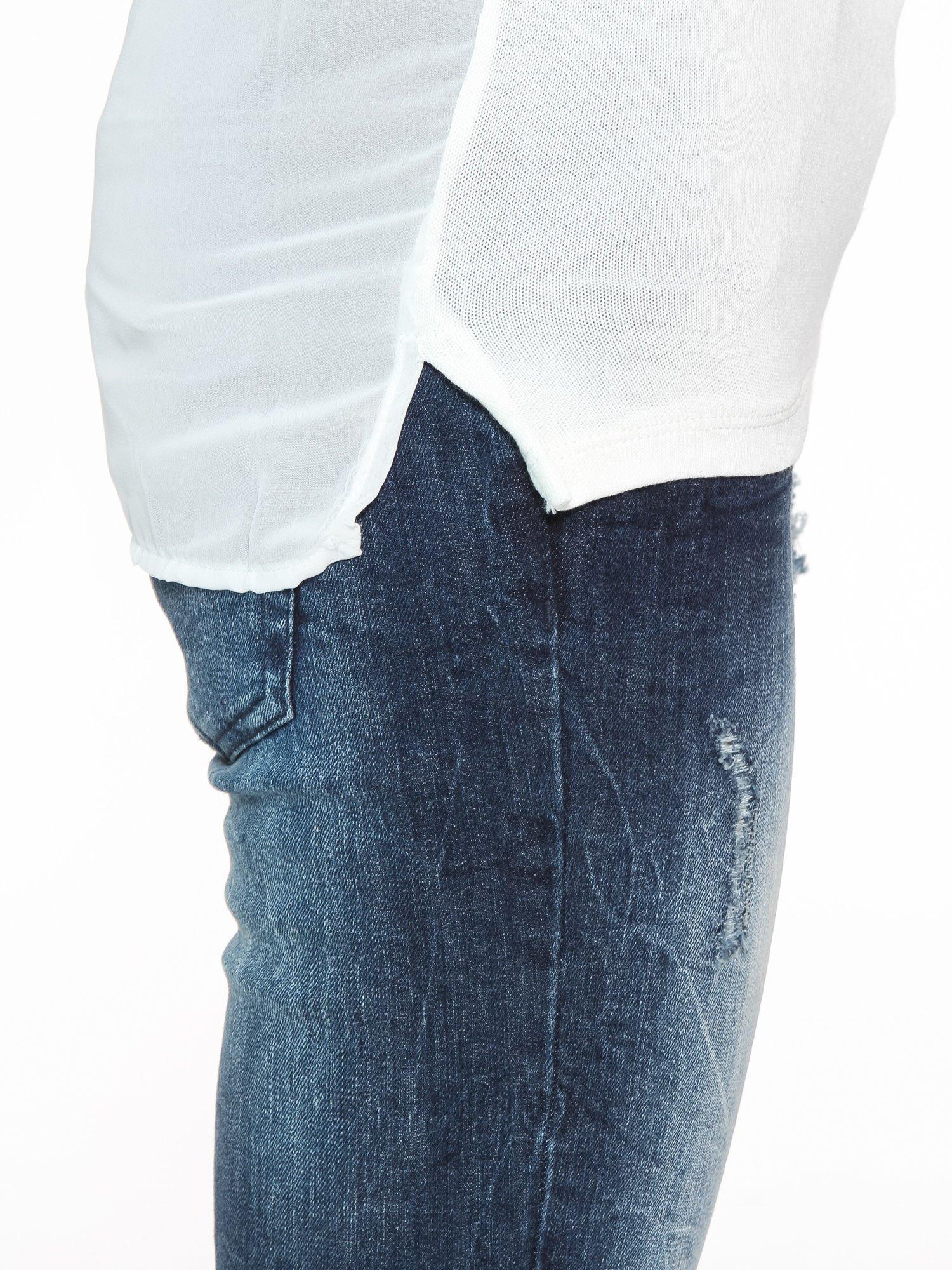 Ecru bluzka z tyłem mgiełką i z ozdobnym wiązaniem                                  zdj.                                  8