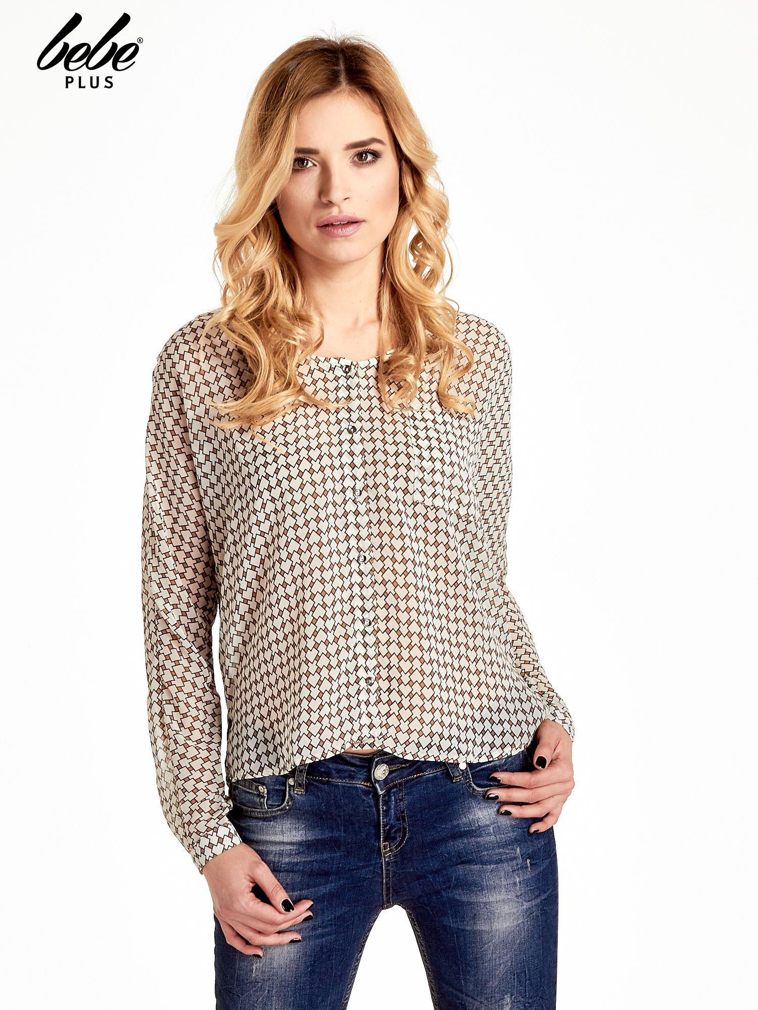 Ecru-brązowa koszula w geometryczne wzory                                  zdj.                                  1