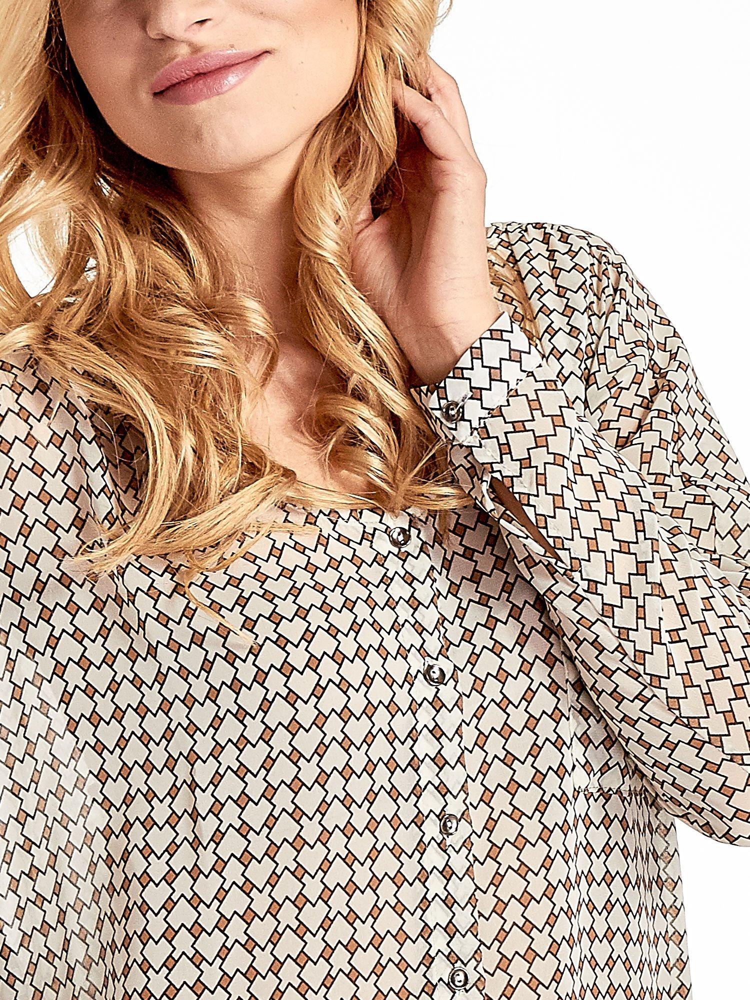 Ecru-brązowa koszula w geometryczne wzory                                  zdj.                                  5