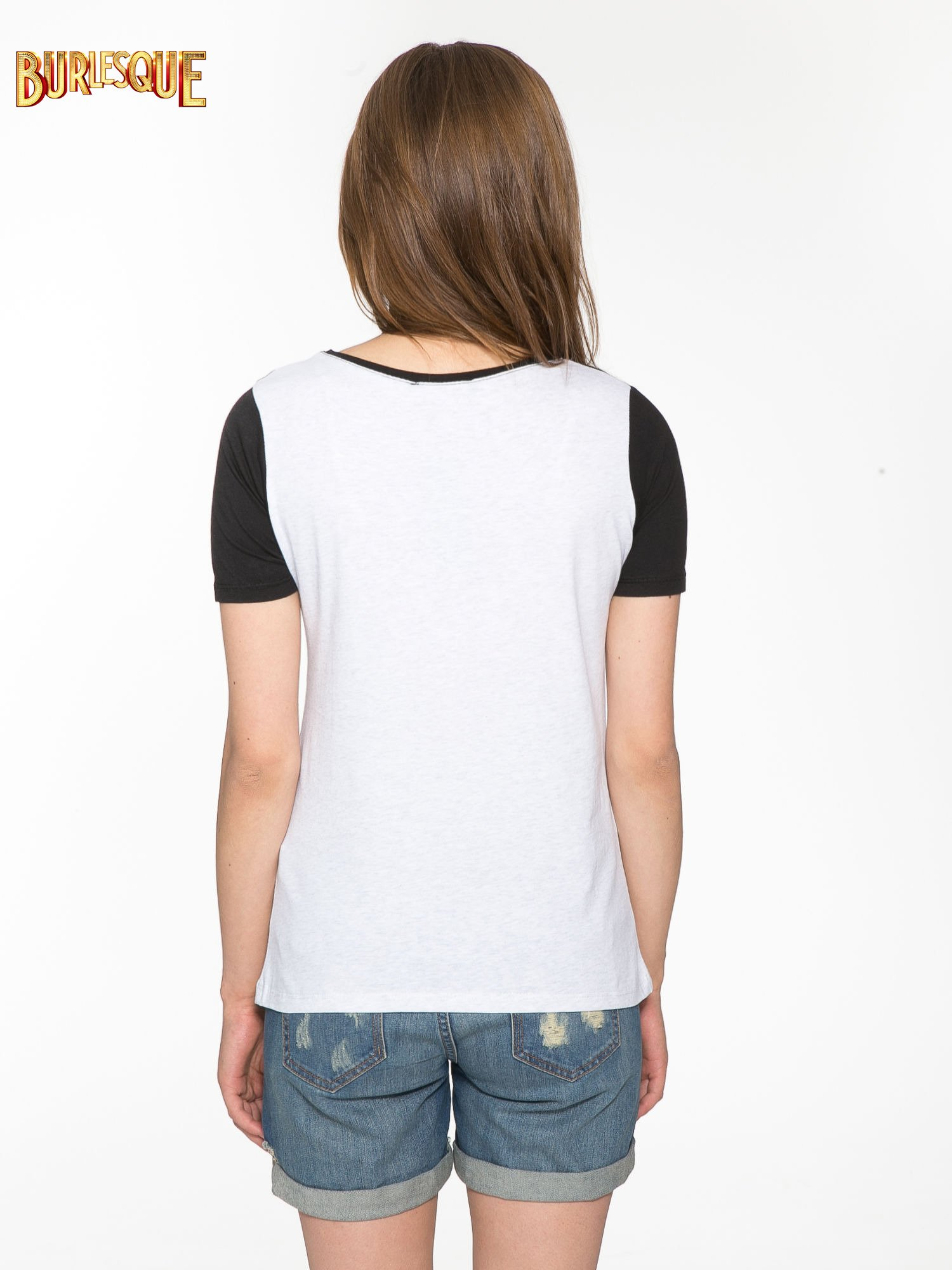 Ecru-czarny t-shirt z napisem DREAMY VIBES 86 PARIS                                  zdj.                                  4