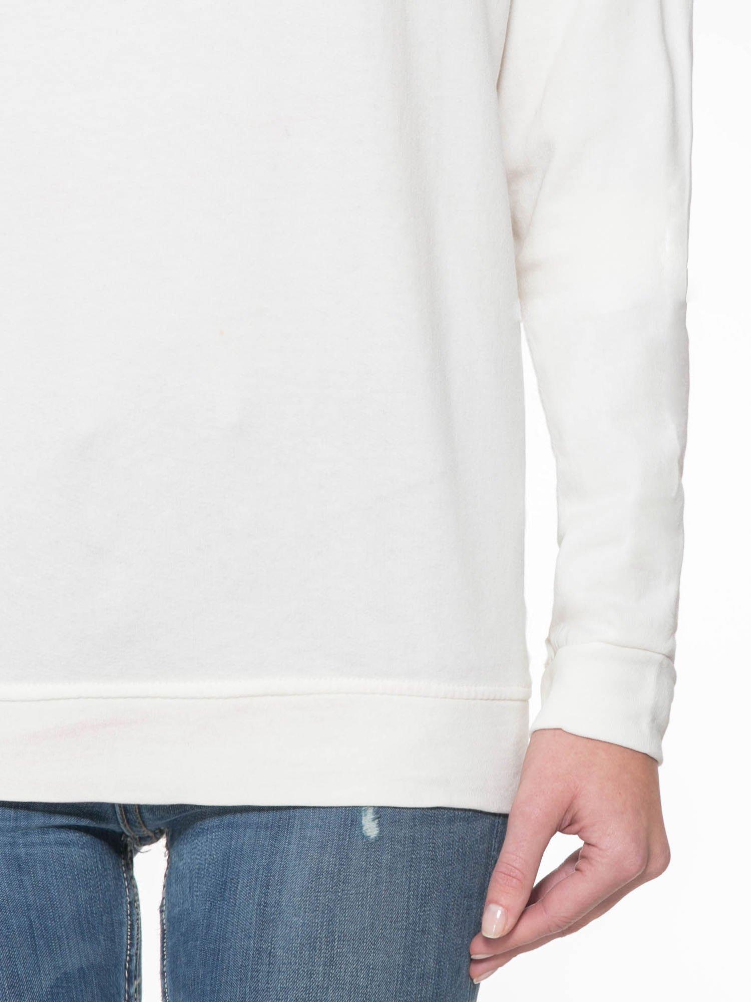 Ecru długa bluza ze ściąganym kapturokominem                                  zdj.                                  7
