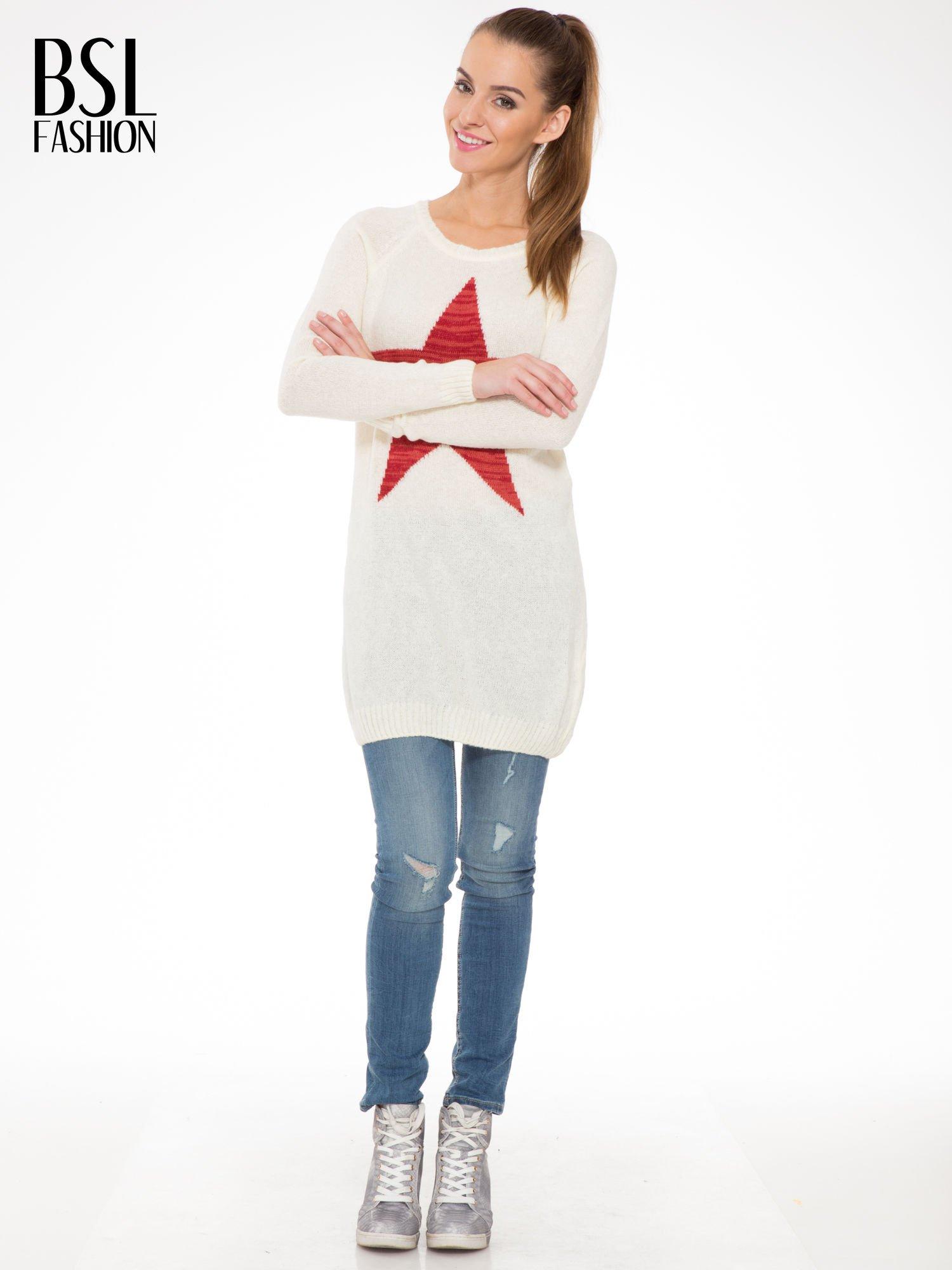 Ecru długi sweter z nadrukiem gwiazdy                                  zdj.                                  2
