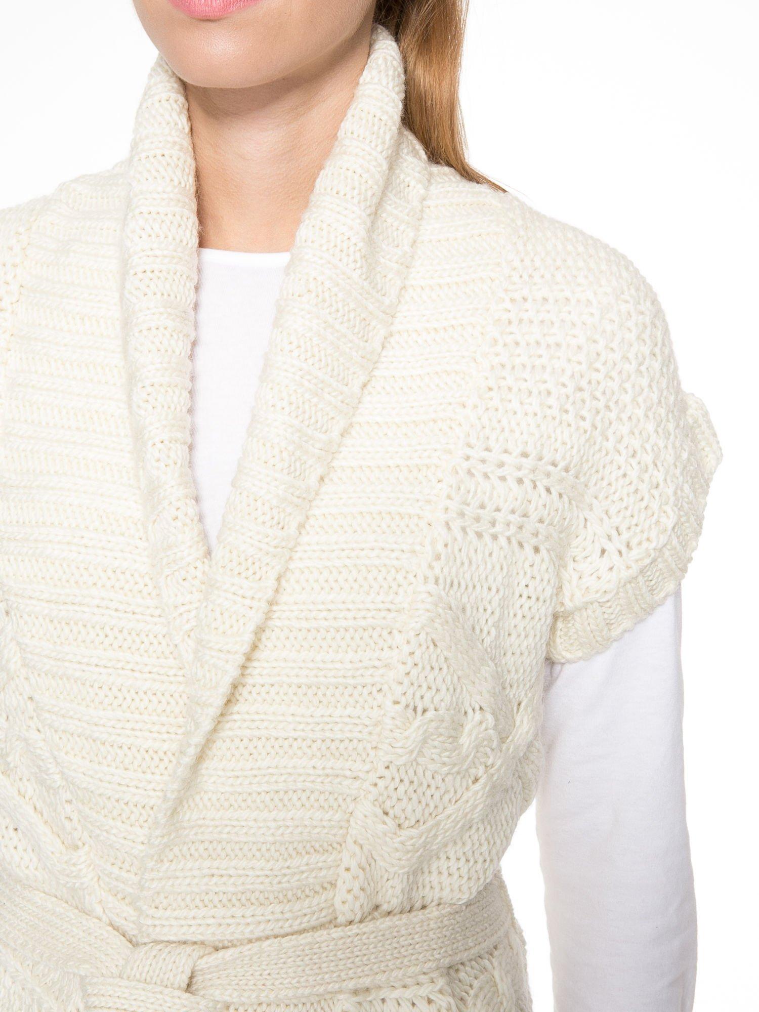 Ecru dziergany długi sweter kardigan z frędzlami na dole                                  zdj.                                  5