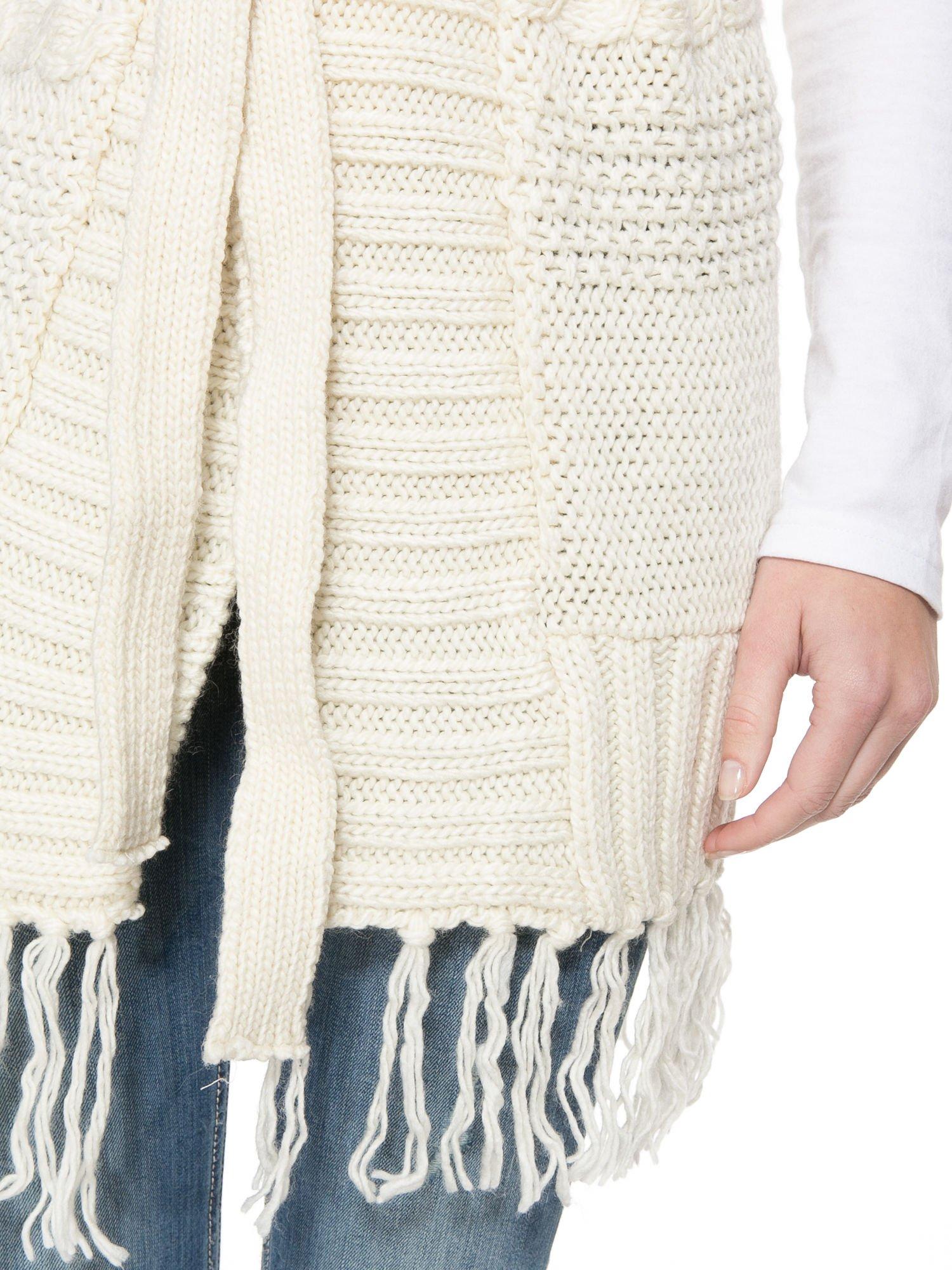 Ecru dziergany długi sweter kardigan z frędzlami na dole                                  zdj.                                  8