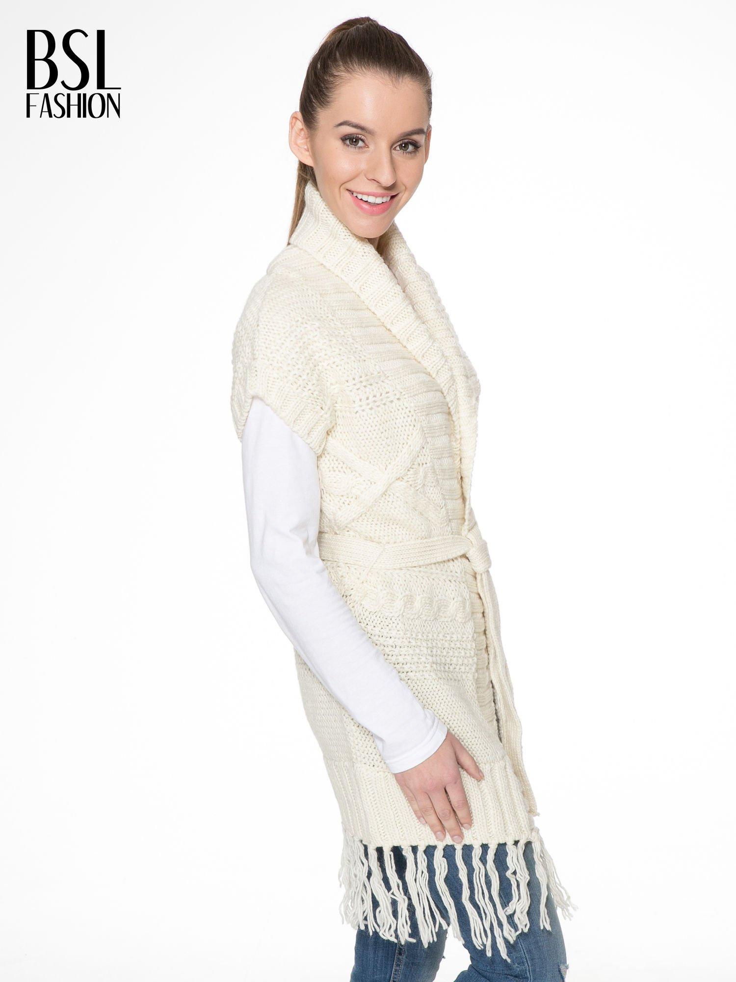 Ecru dziergany długi sweter kardigan z frędzlami na dole                                  zdj.                                  3