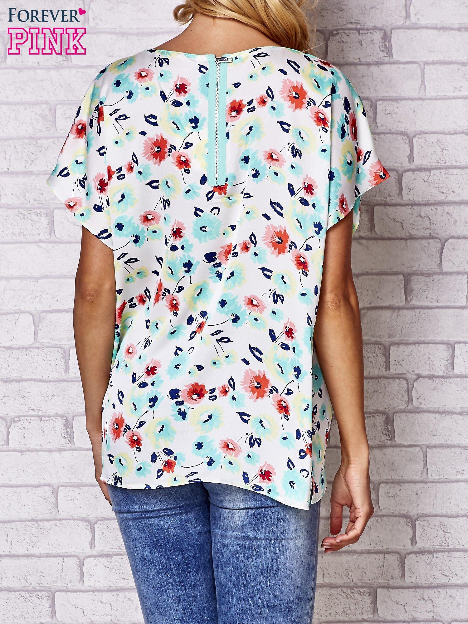 Ecru koszula damska z kwiatowym nadrukiem                                  zdj.                                  4