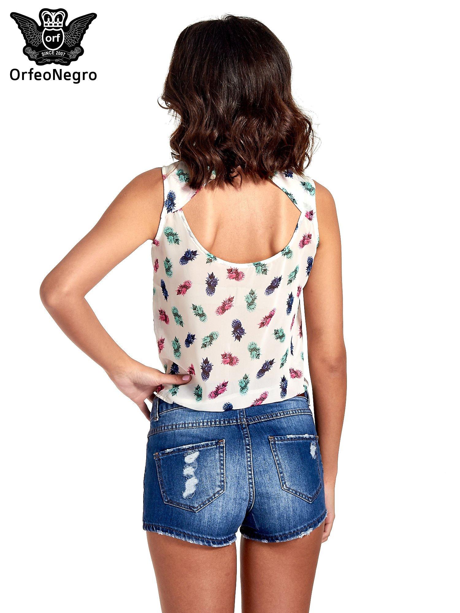 Ecru koszula z wiązaniem w ananasy                                  zdj.                                  2