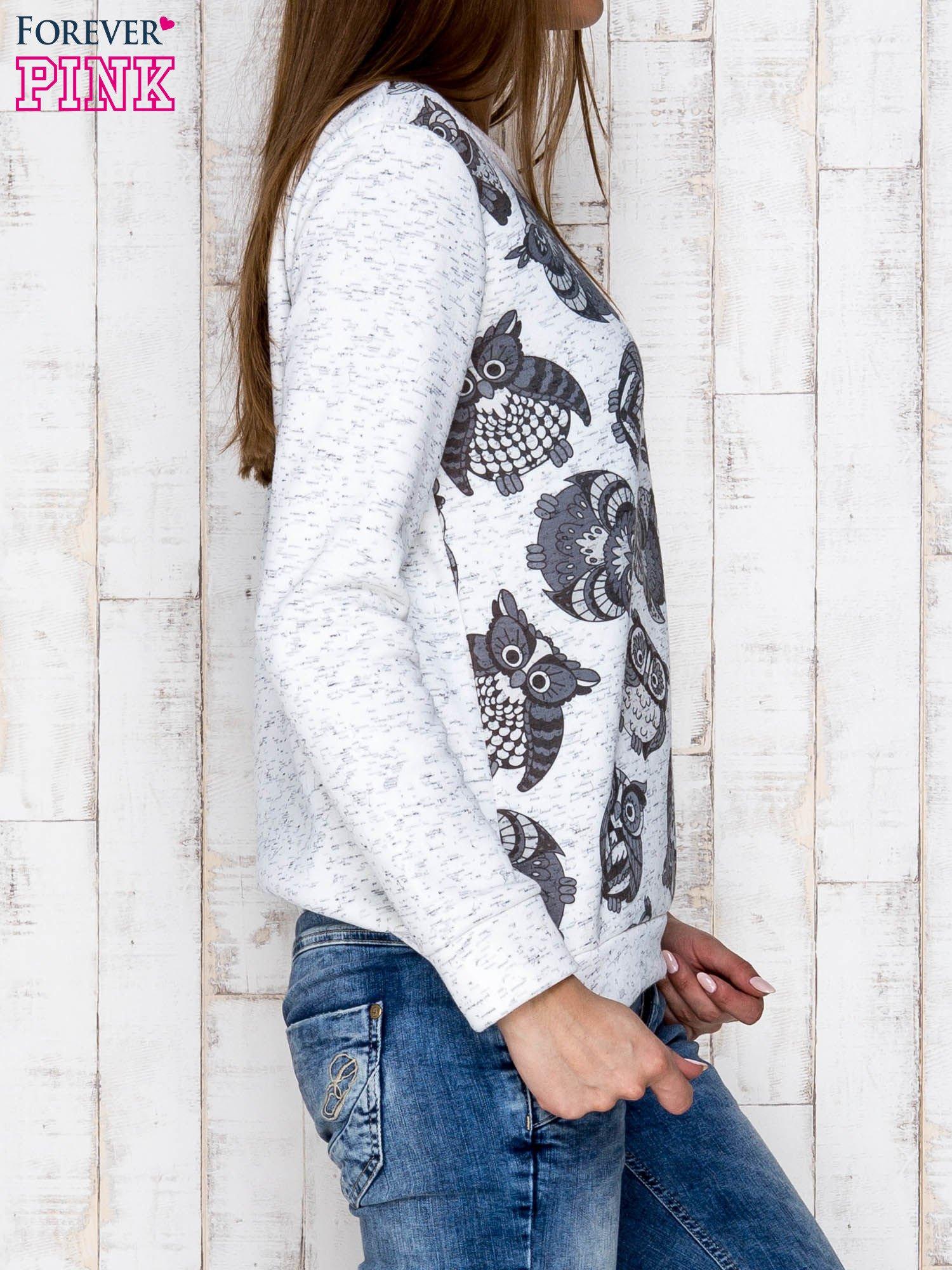 Ecru melanżowa bluza z nadrukiem sów                                  zdj.                                  3