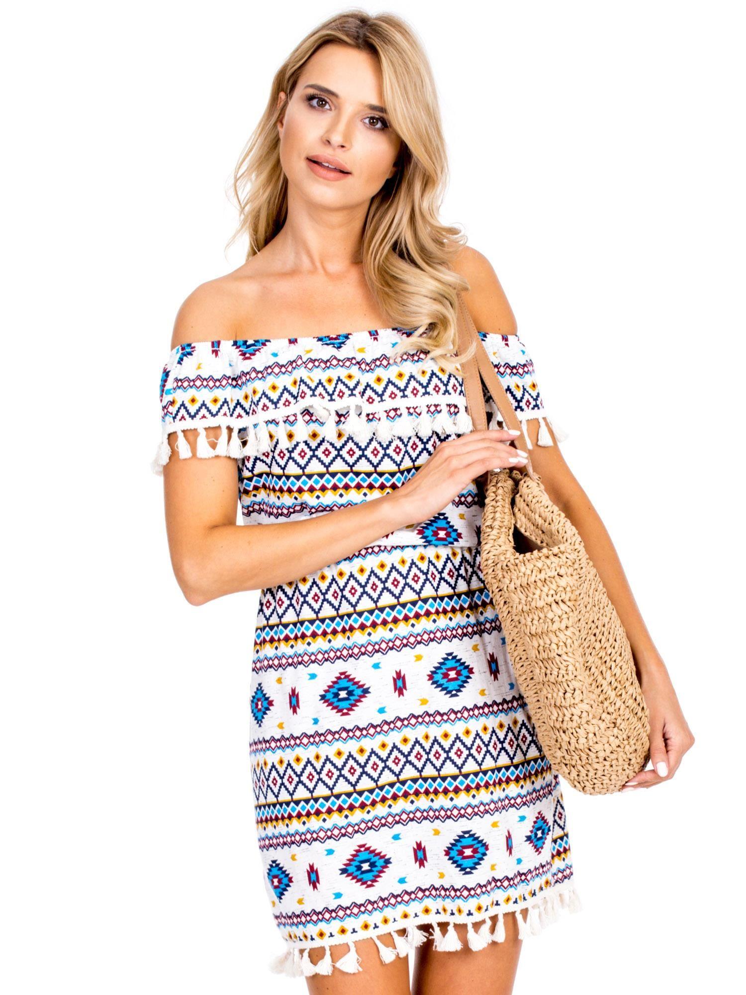 22a593eb Ecru-niebieska sukienka hiszpanka w azteckie wzory z pomponikami