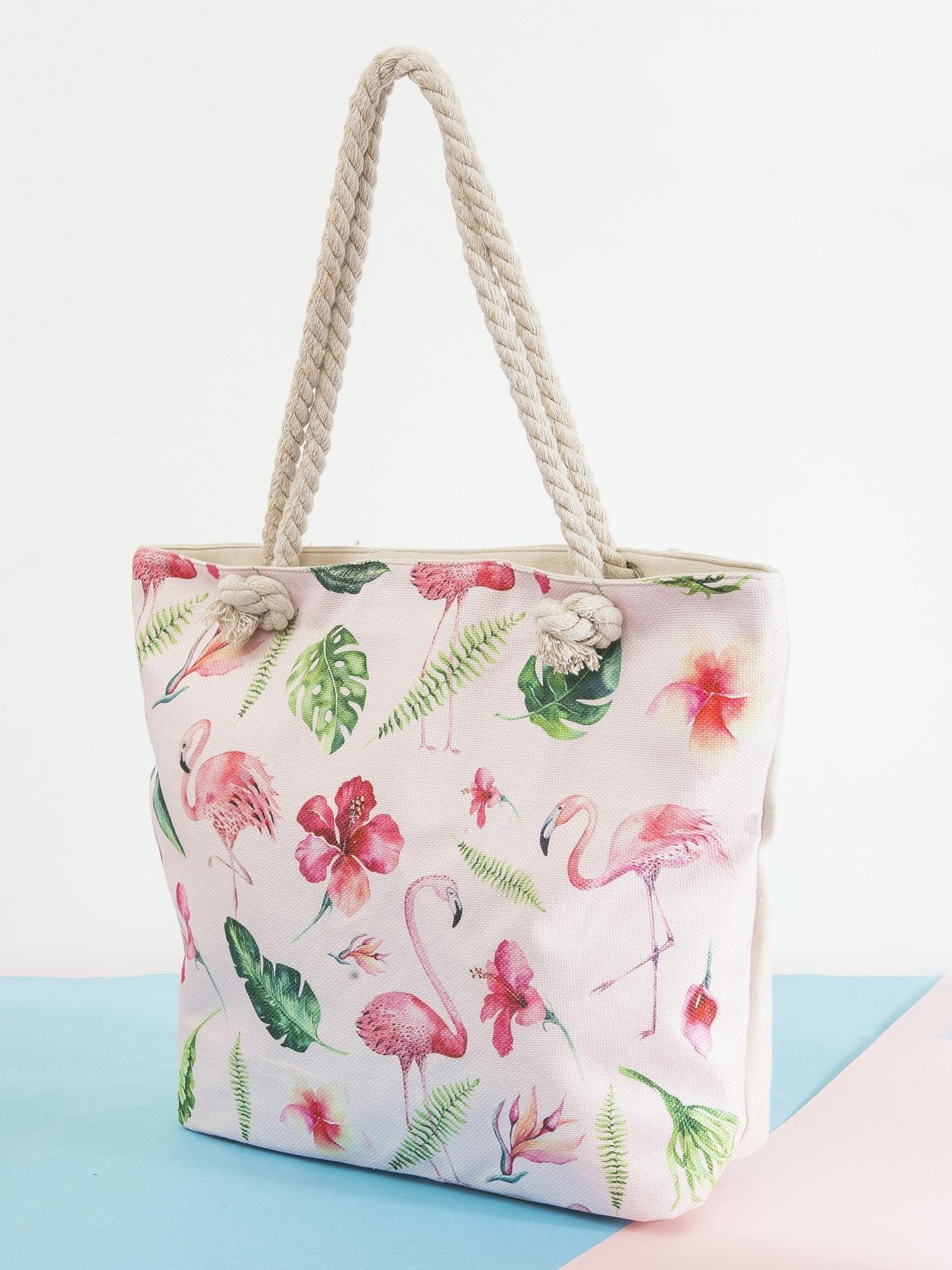1e650d4848e09 Ecru-różowa torba w kwiaty i flamingi - Akcesoria torba - sklep ...