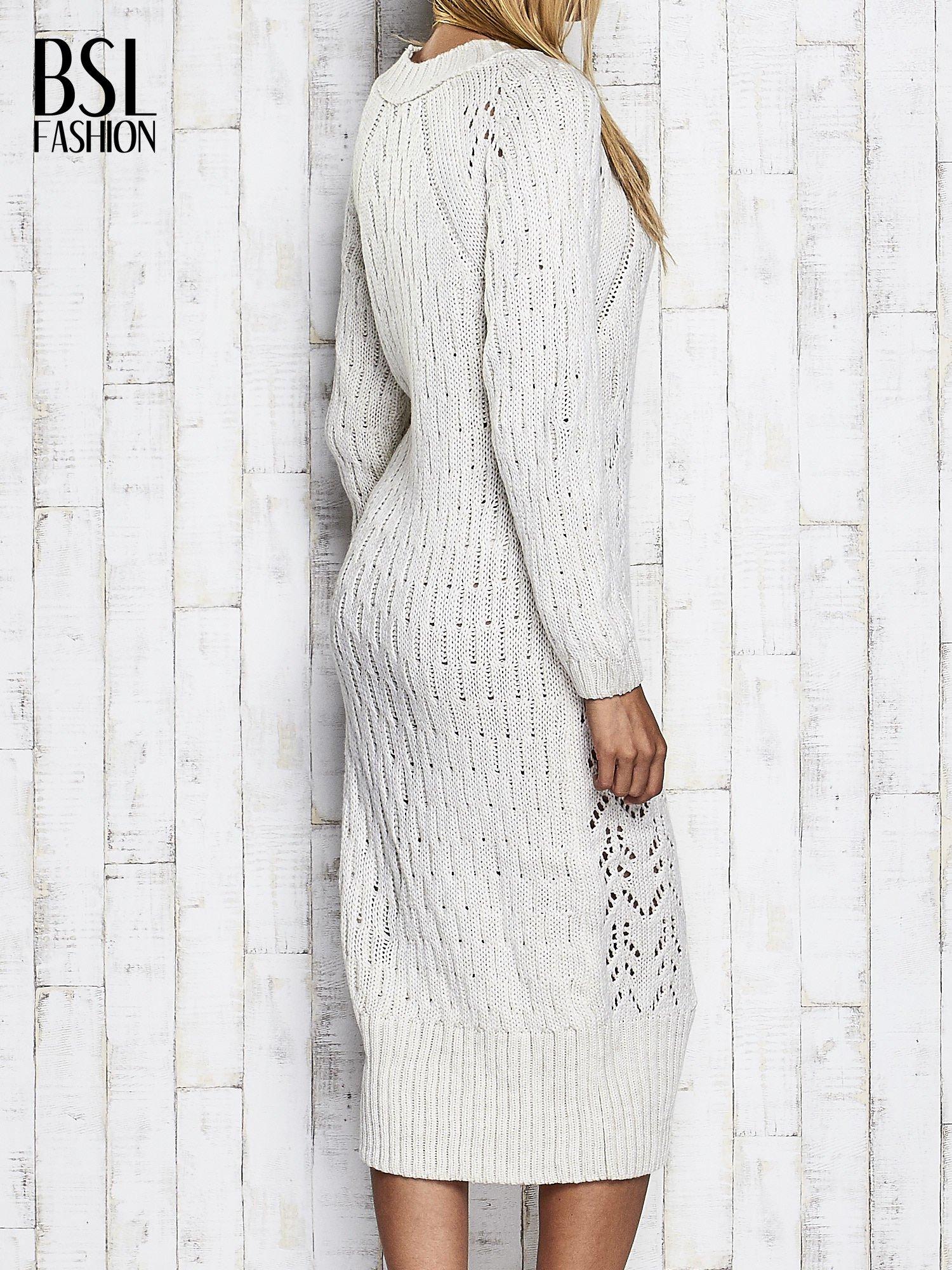 Ecru swetrowa sukienka midi                                  zdj.                                  5